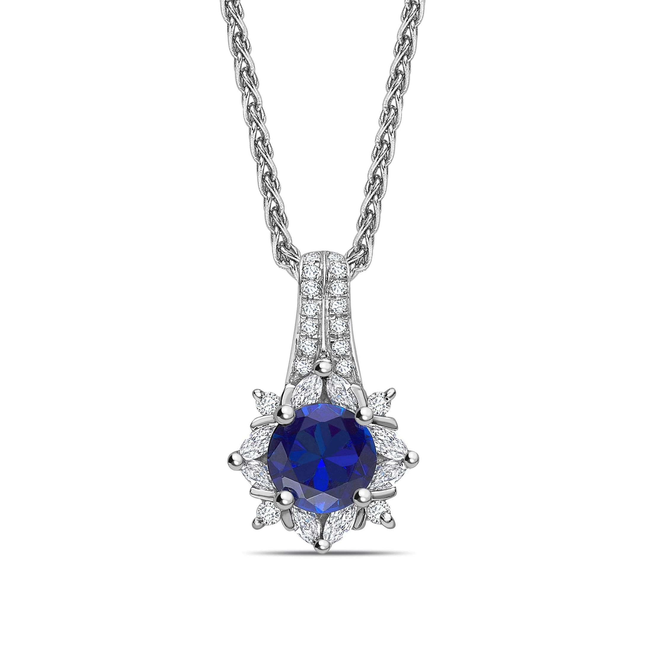 Two Raw Star Style Sapphire Round Shape Halo Diamond Necklace