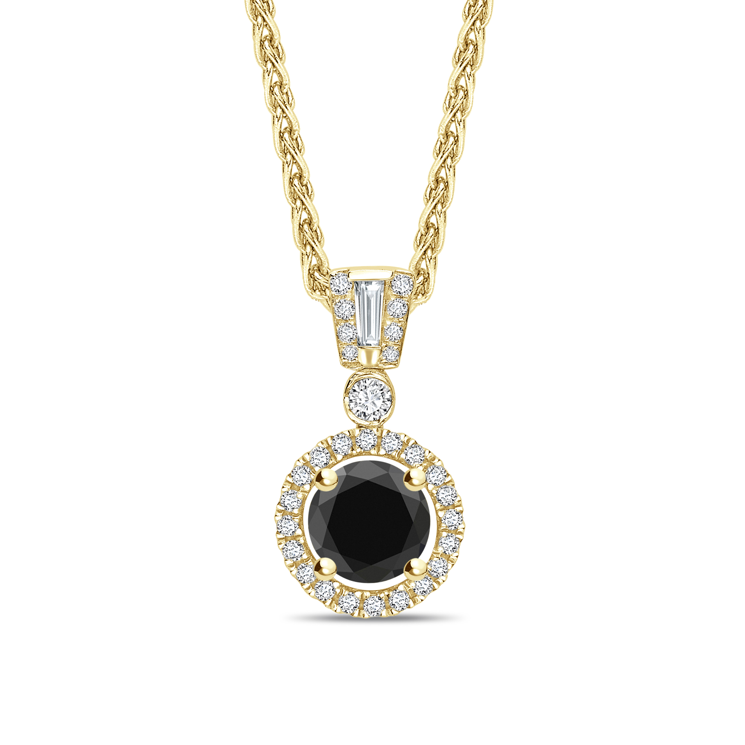 Unique Style Round Cut Black Diamond Solitaire Pendants Nekclace