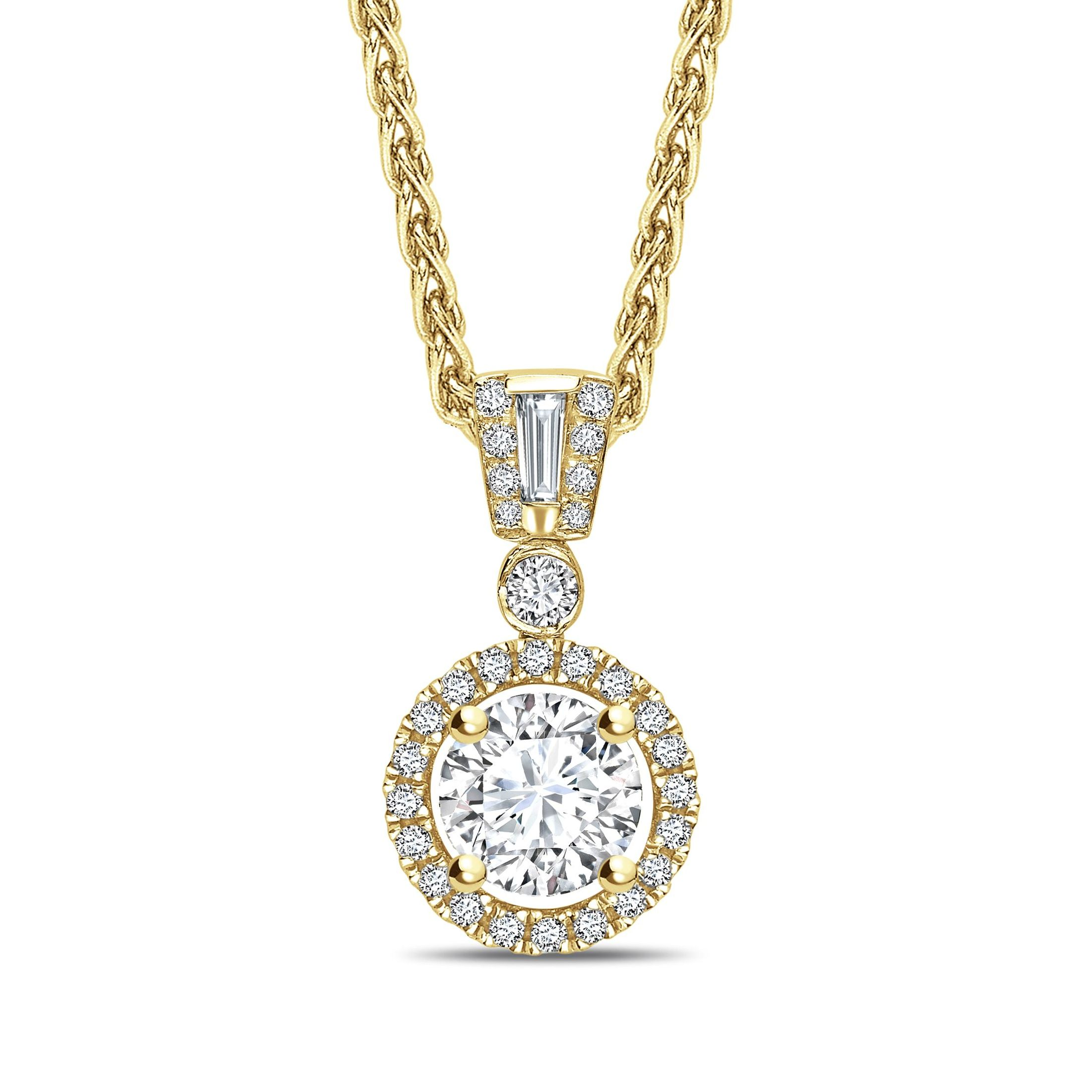 Unique Style Round Shape Halo Diamond Pendant Necklace