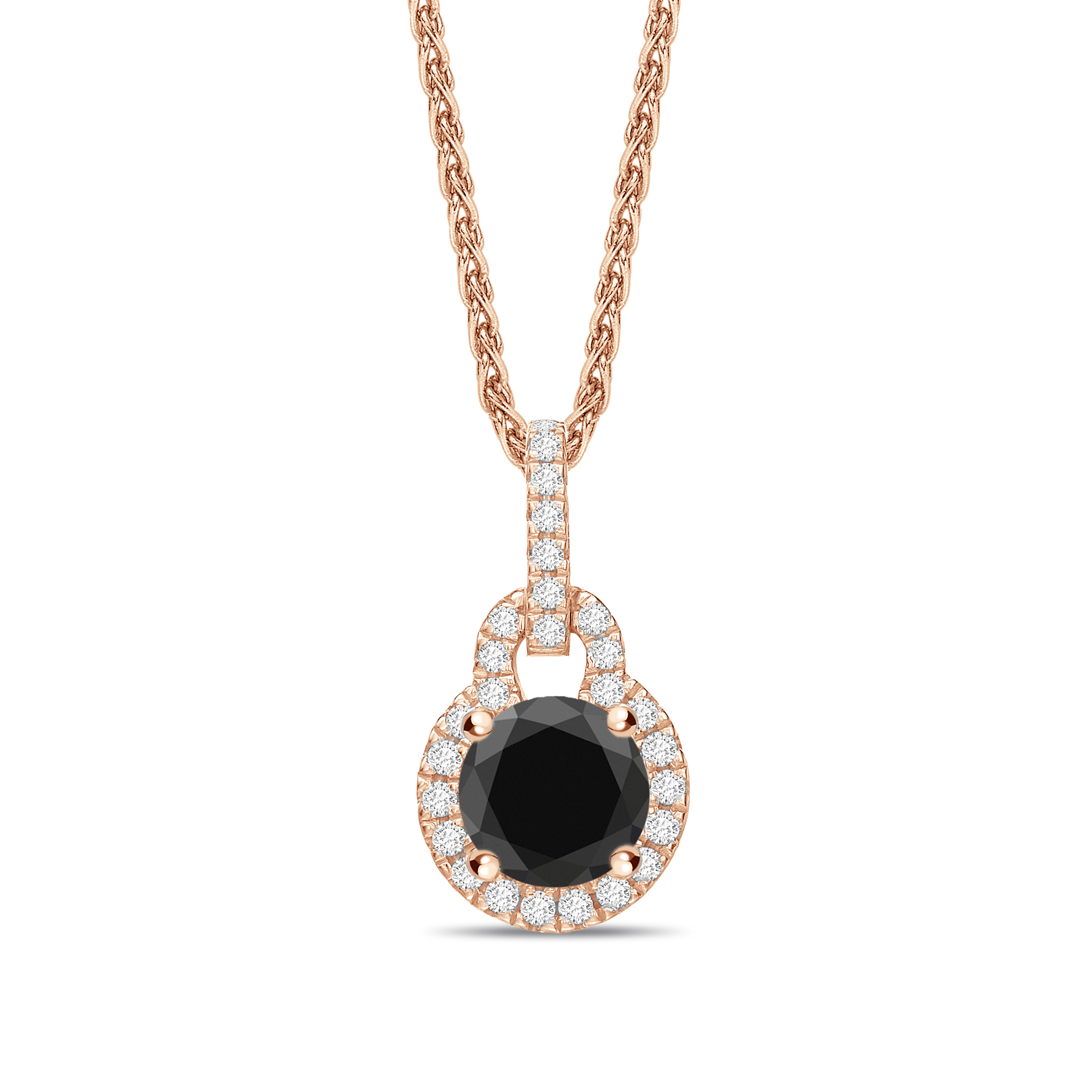 Round Cut Lock & Halo Style Black Diamond Solitaire Pendants Necklace