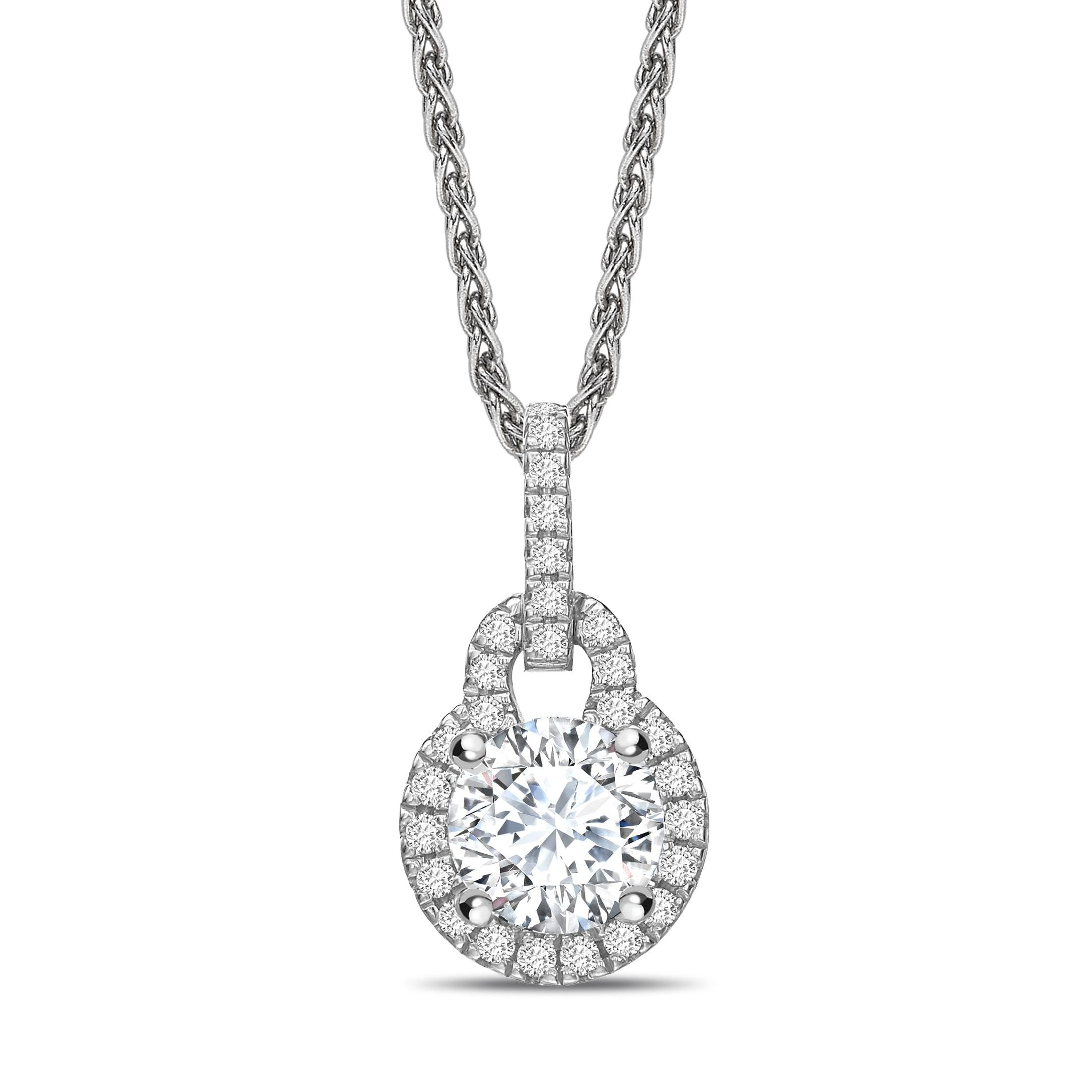 Lock Design Dangling Round Shape Halo Diamond Necklace