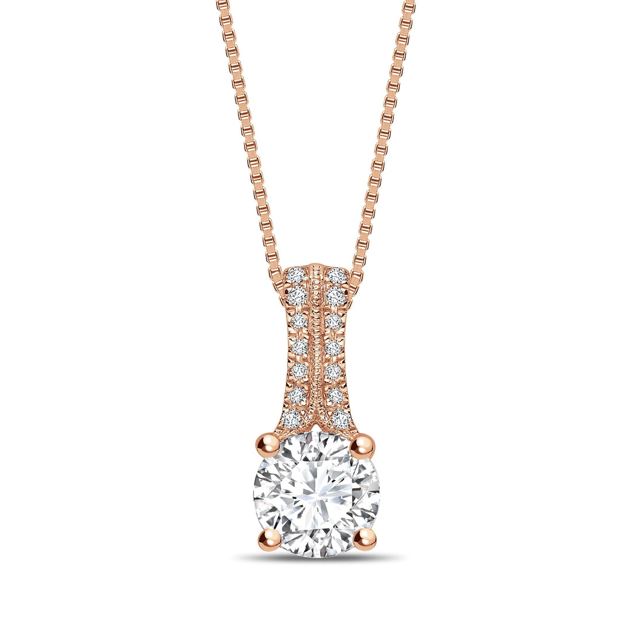 258e56067d Buy Two Diamond Set Bale Round Shape Solitaire Diamond Necklace ...