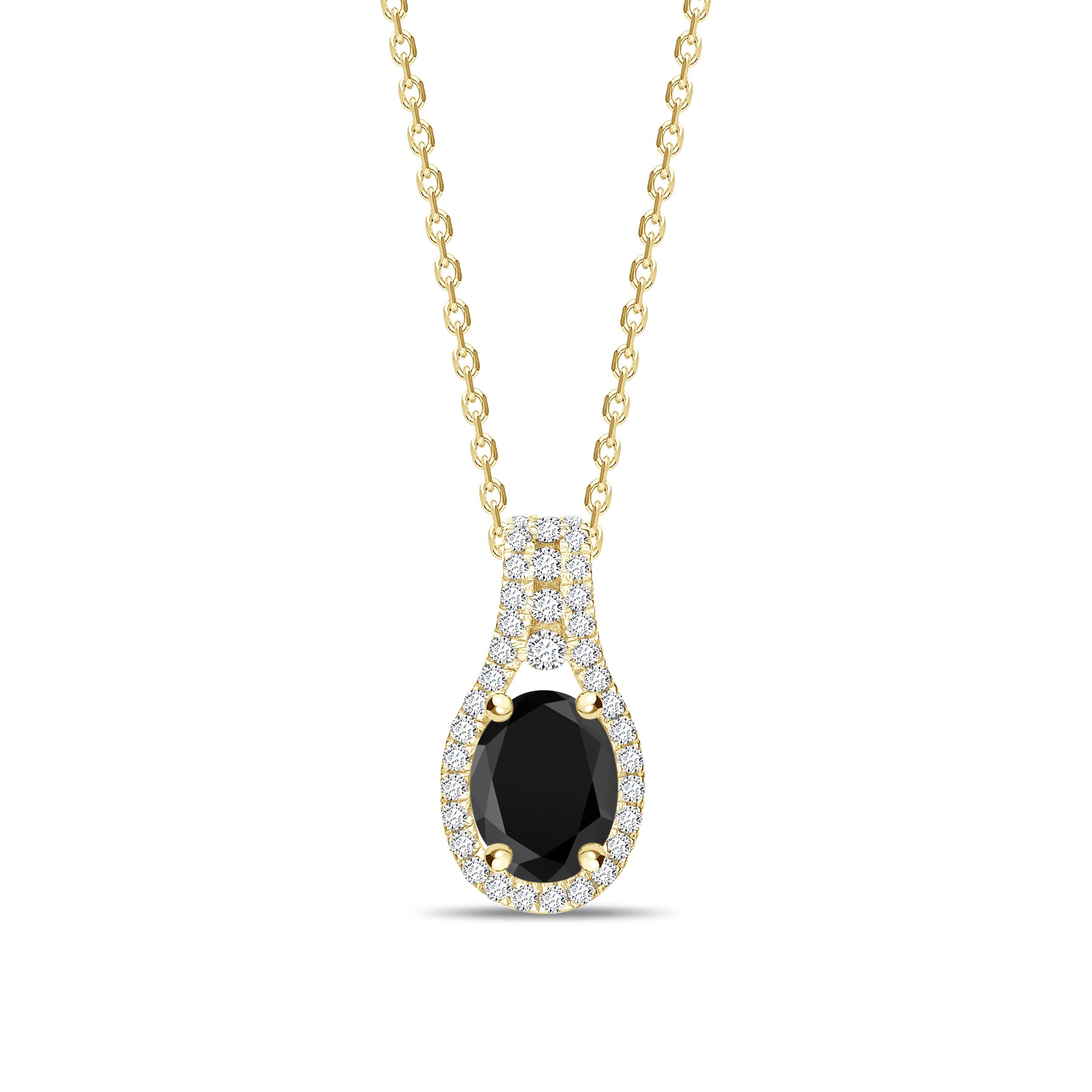 Halo Design Oval Cut Black Diamond Solitaire Pendants Necklace