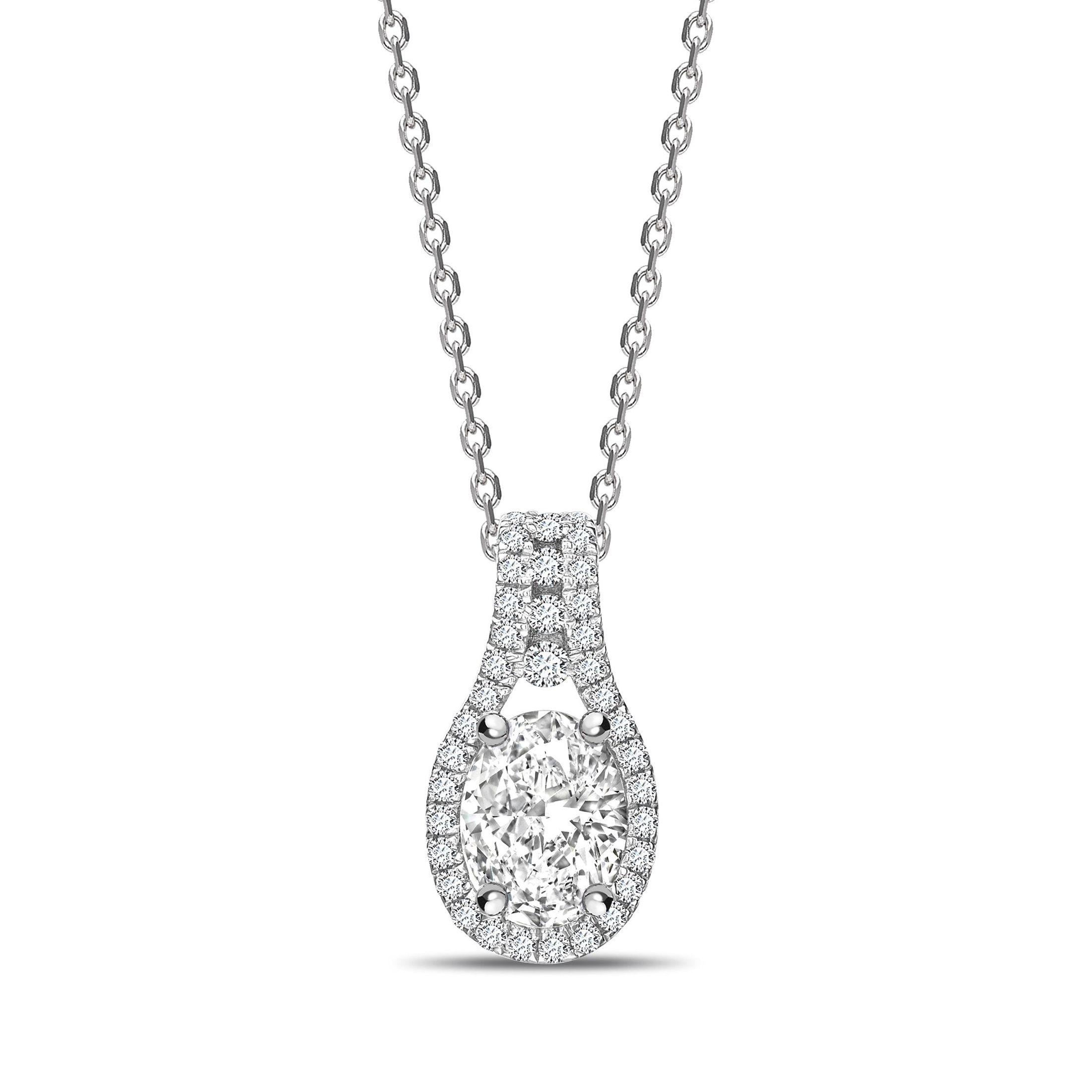 Designer Halo Oval Shape Halo Diamond Necklace