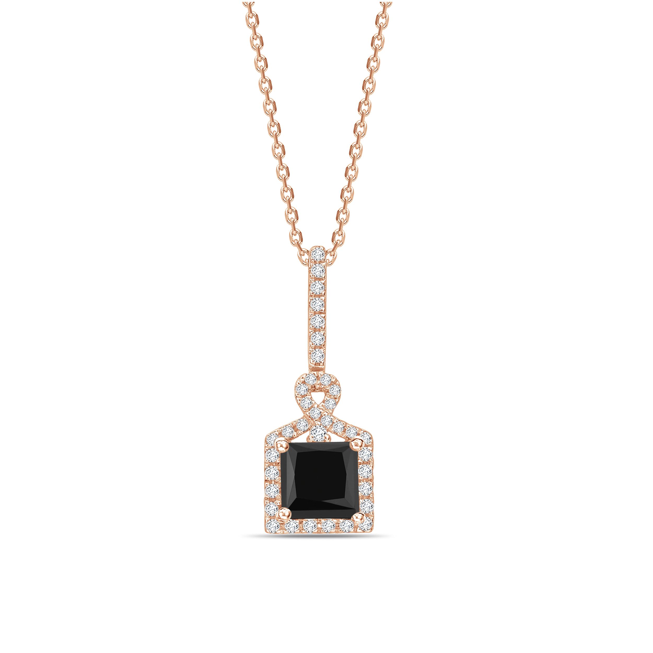 Princess Cut Unique Design Black Diamond Solitaire Pendants Necklace