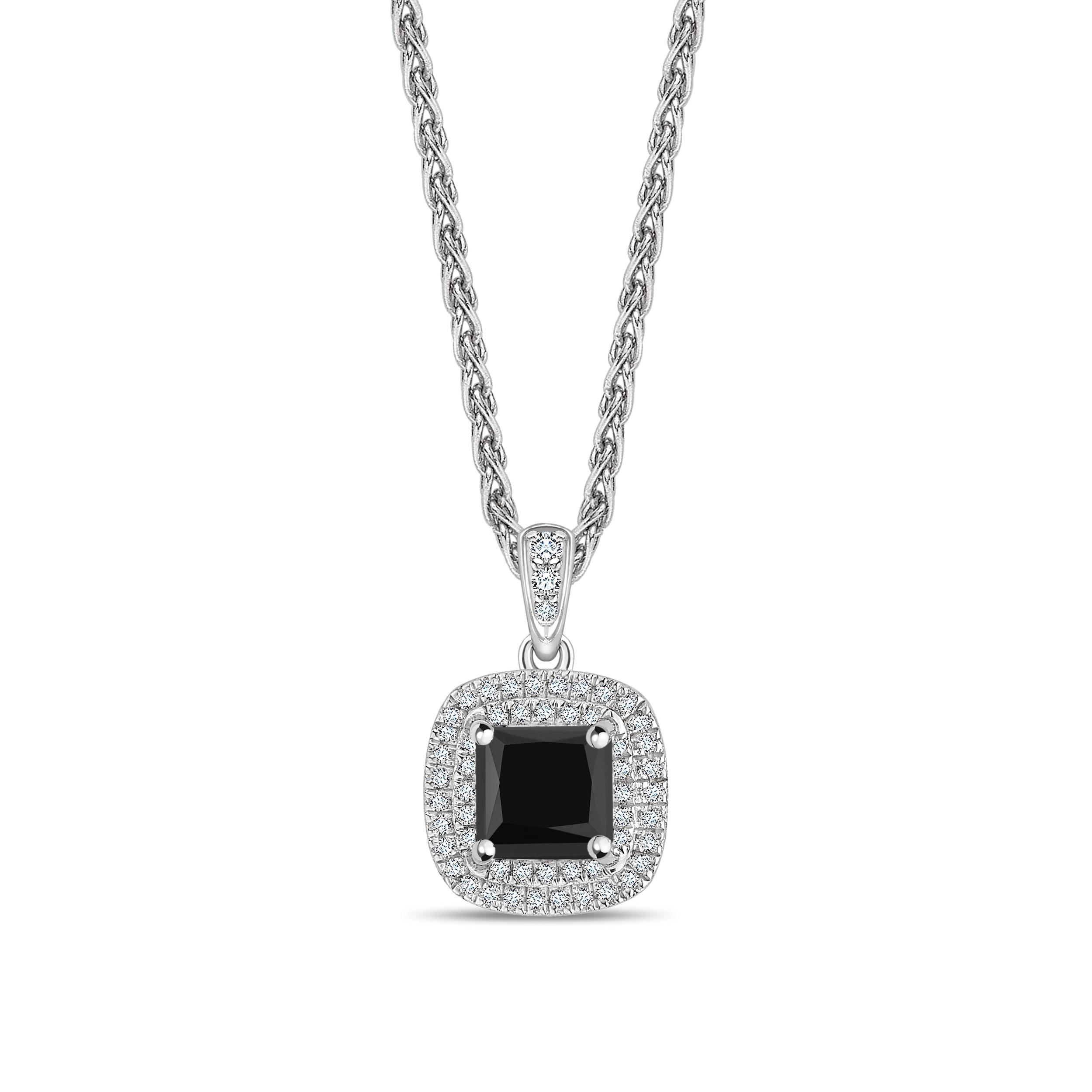Double Row Setting Princess Cut Black Diamond Solitaire Pendants Necklace