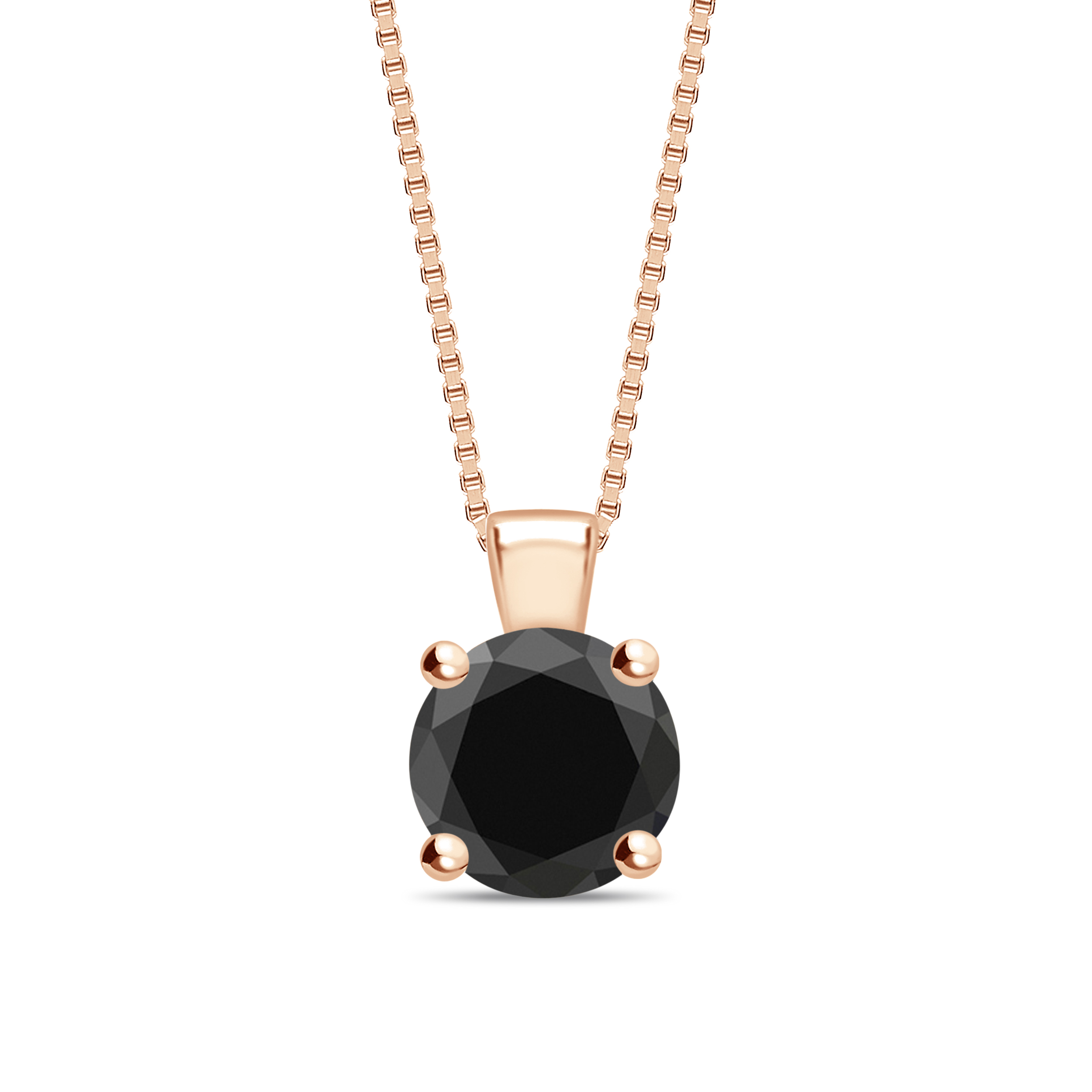 Round Cut Black Diamond Solitaire Pendants Necklace in Classic Solitaire