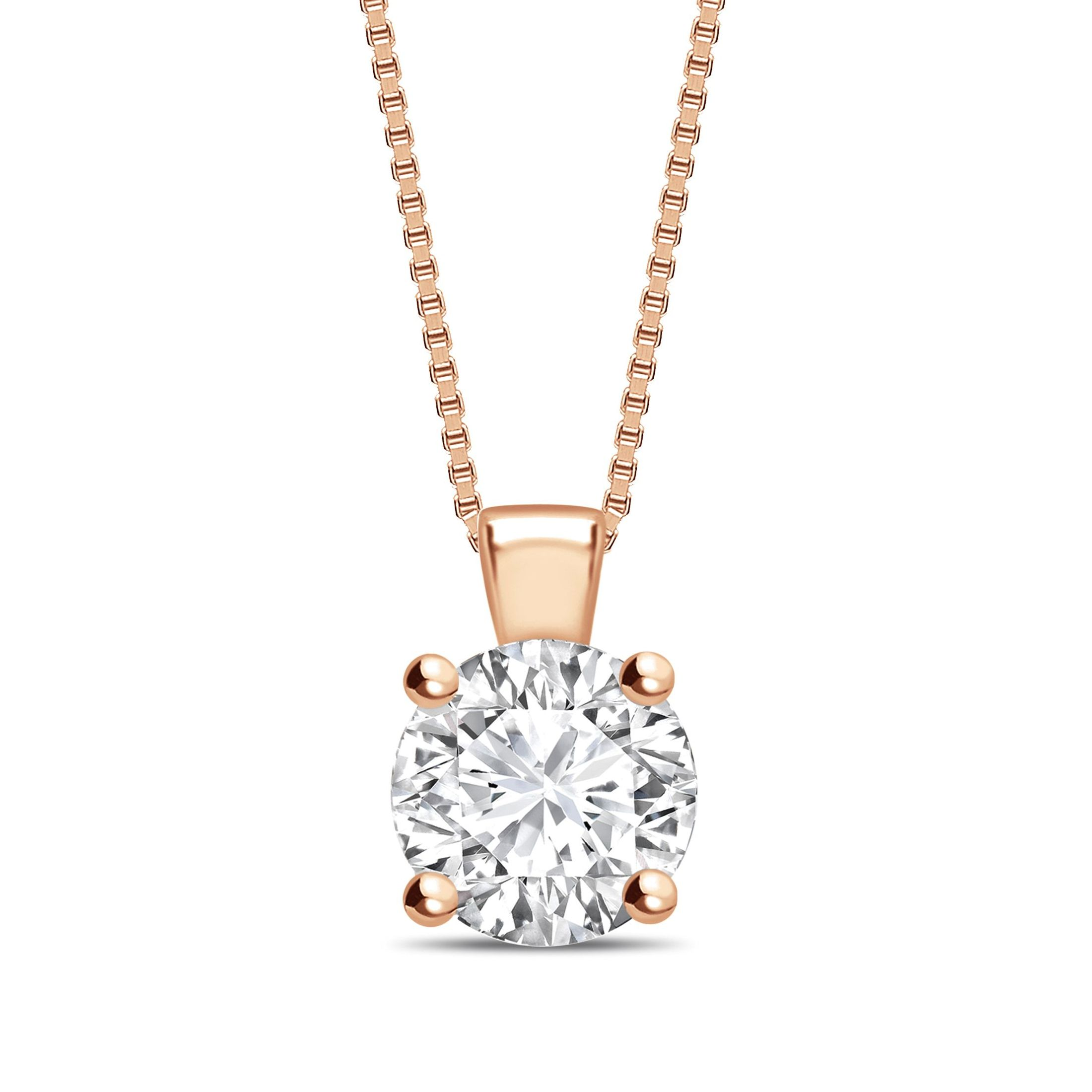 Solid Bale N-W-E-S Round Shape Solitaire Diamond Necklace