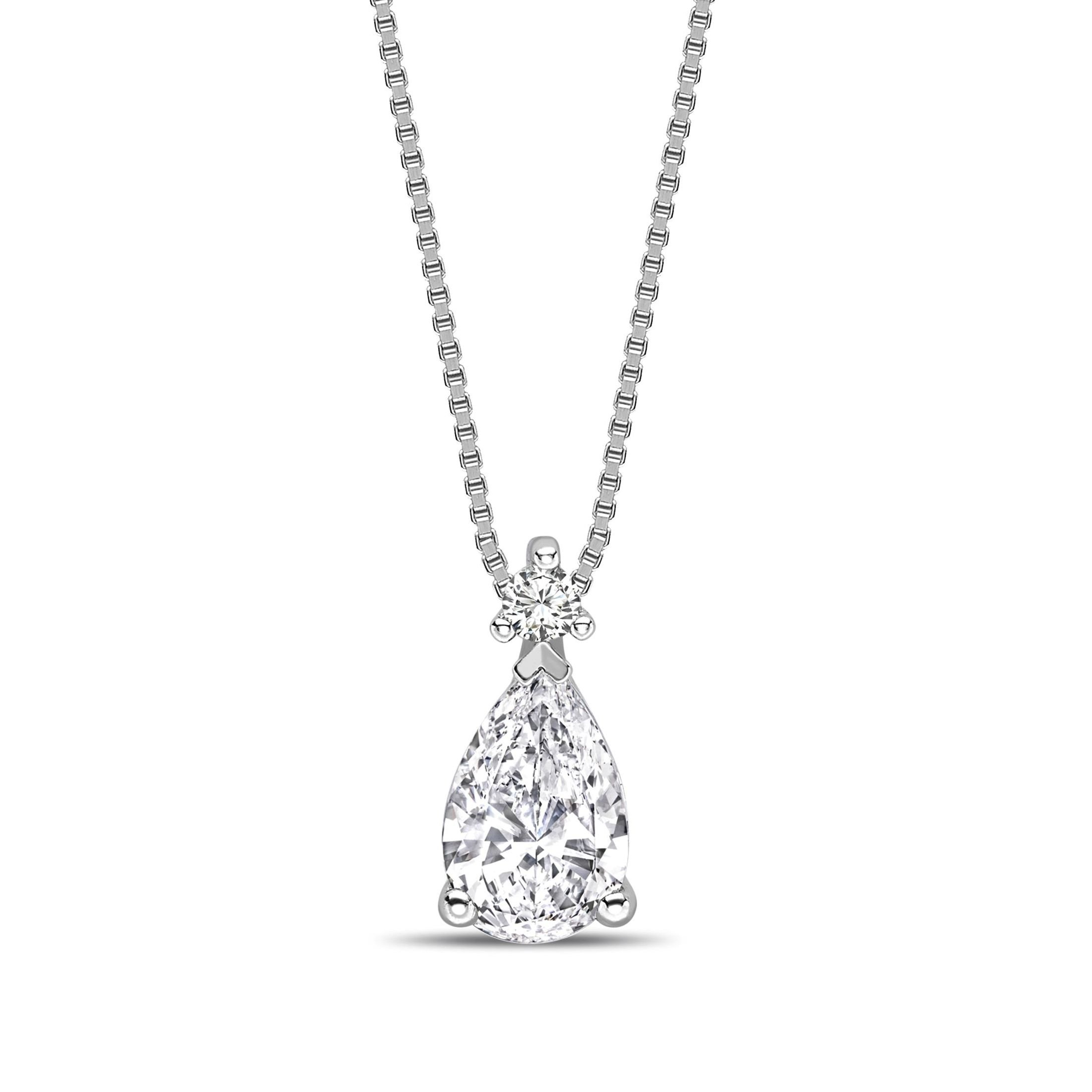 Modern Design Pear Shape Solitaire Diamond Necklace