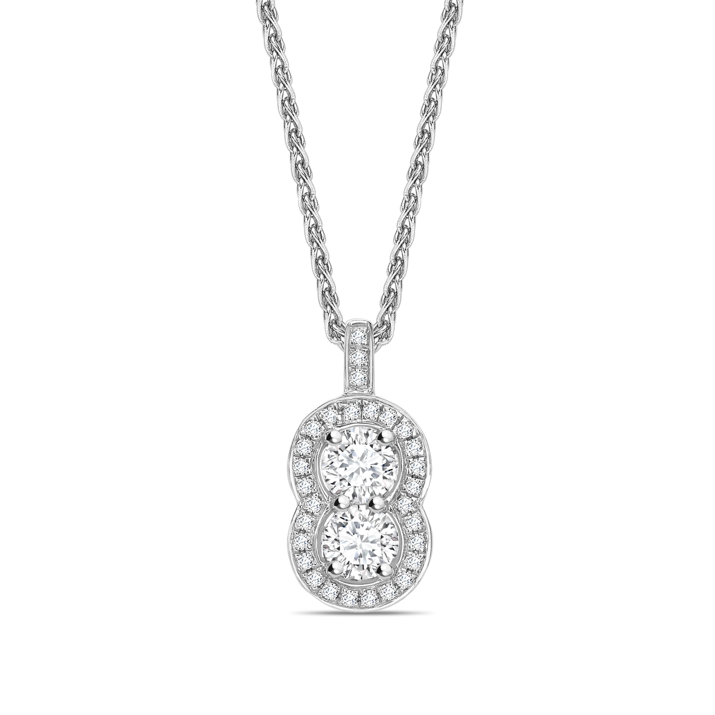 Peanut Style Two Diamond Round Shape Halo Diamond Necklace
