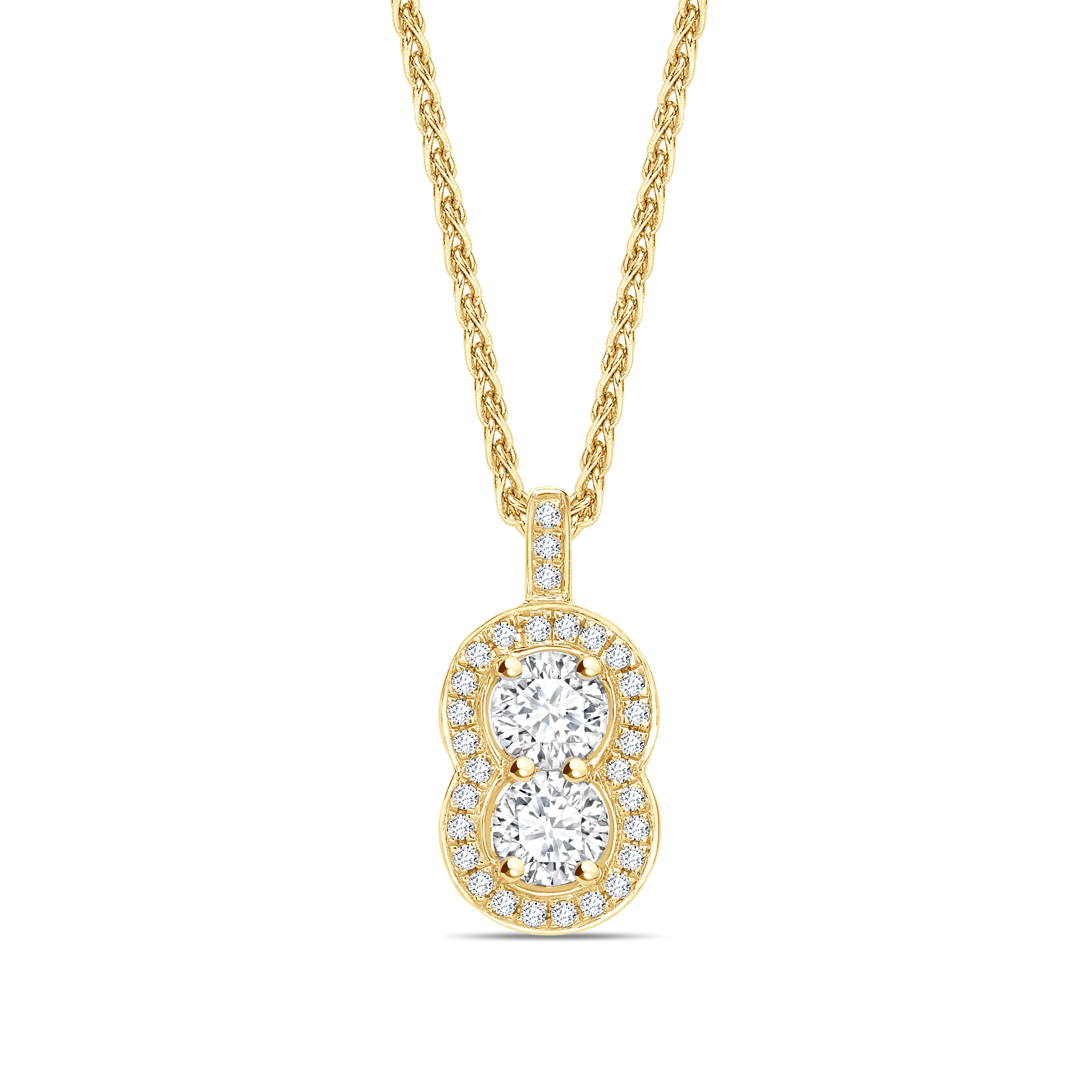 Peanut Style Two Diamond Round Shape Halo Diamond Necklace