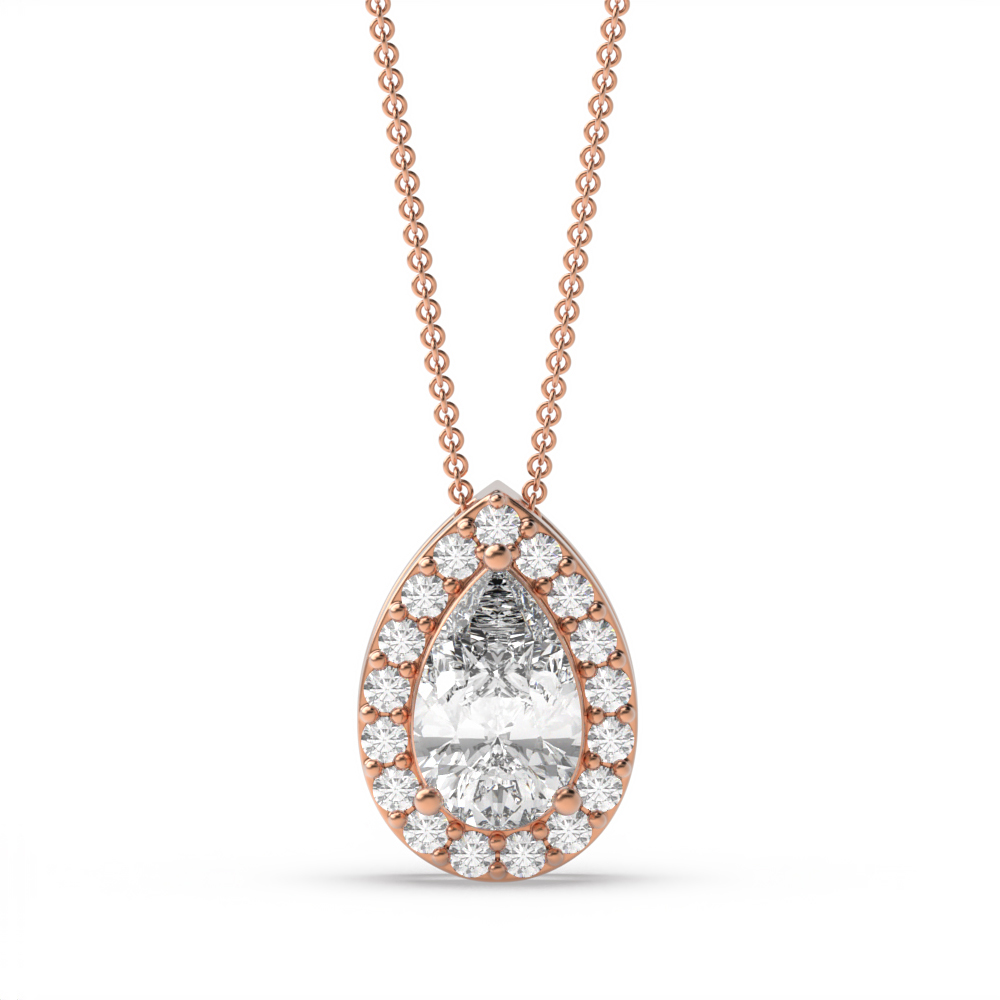 Sliding Halo Pear Shape Halo Diamond Pendant Necklace