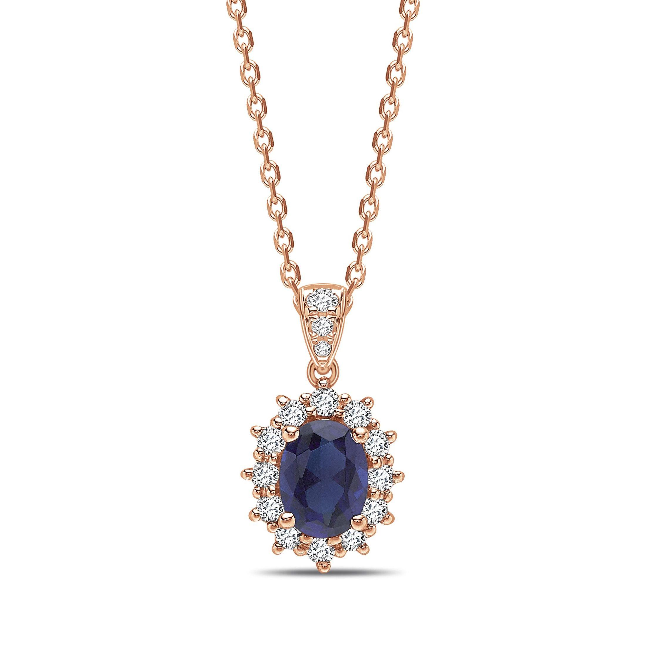 Star Halo Dangling Oval Shape Halo Diamond Pendant Necklace