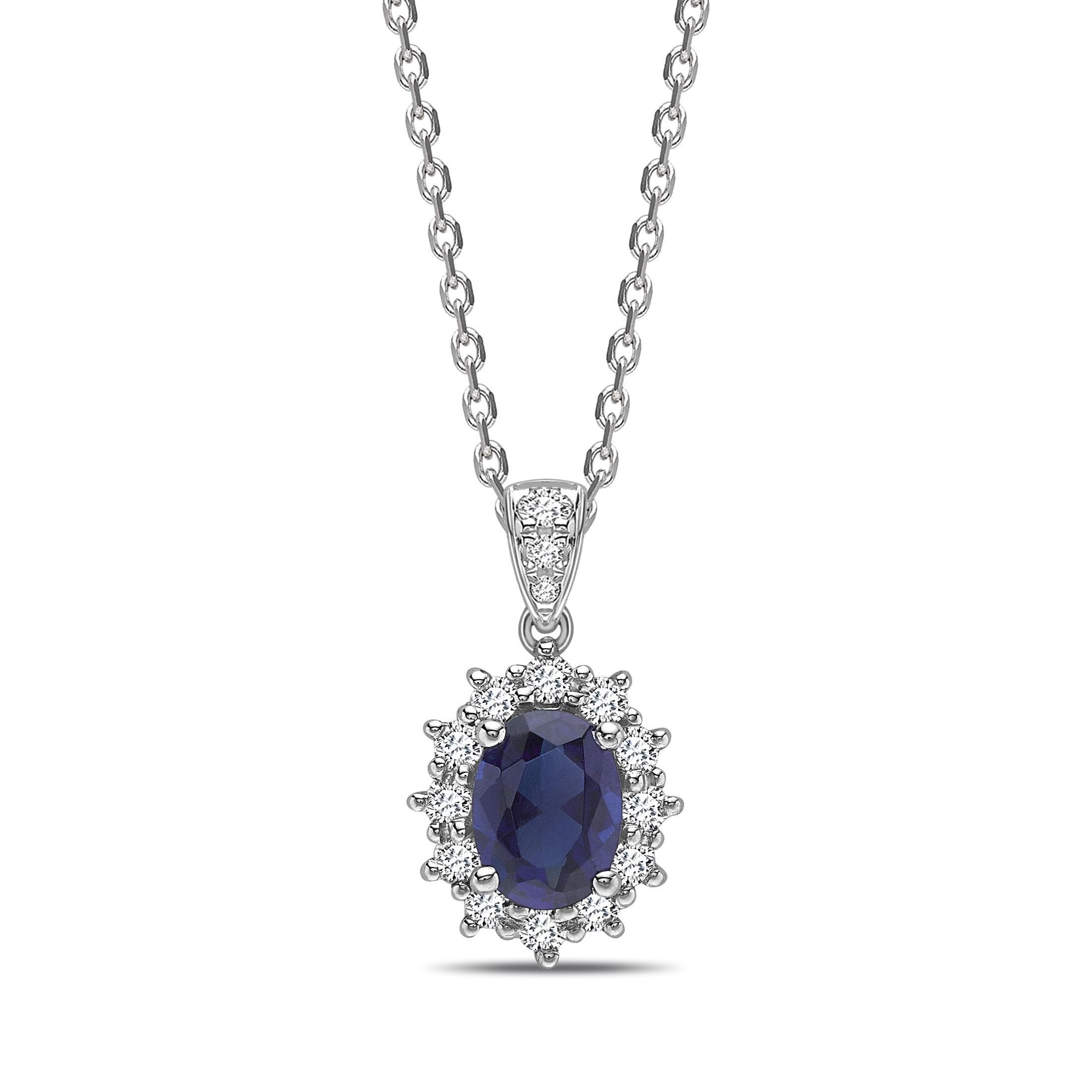 Star Halo Dangling Oval Shape Halo Diamond Pendant Necklace