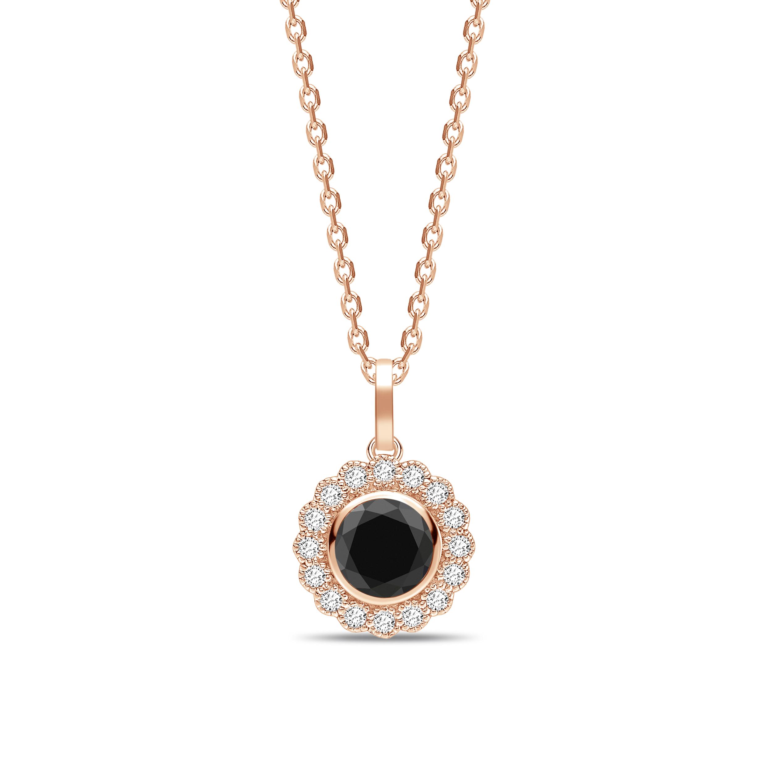 Vintage Style Round Shape Black Diamond Solitaire Pendants Necklace