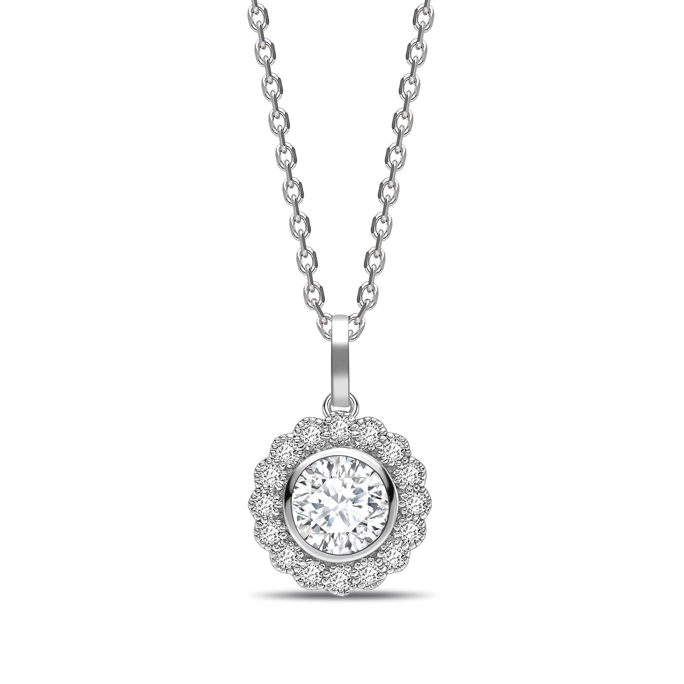 Miligrain Vintage Style Round Shape Halo Diamond Necklace