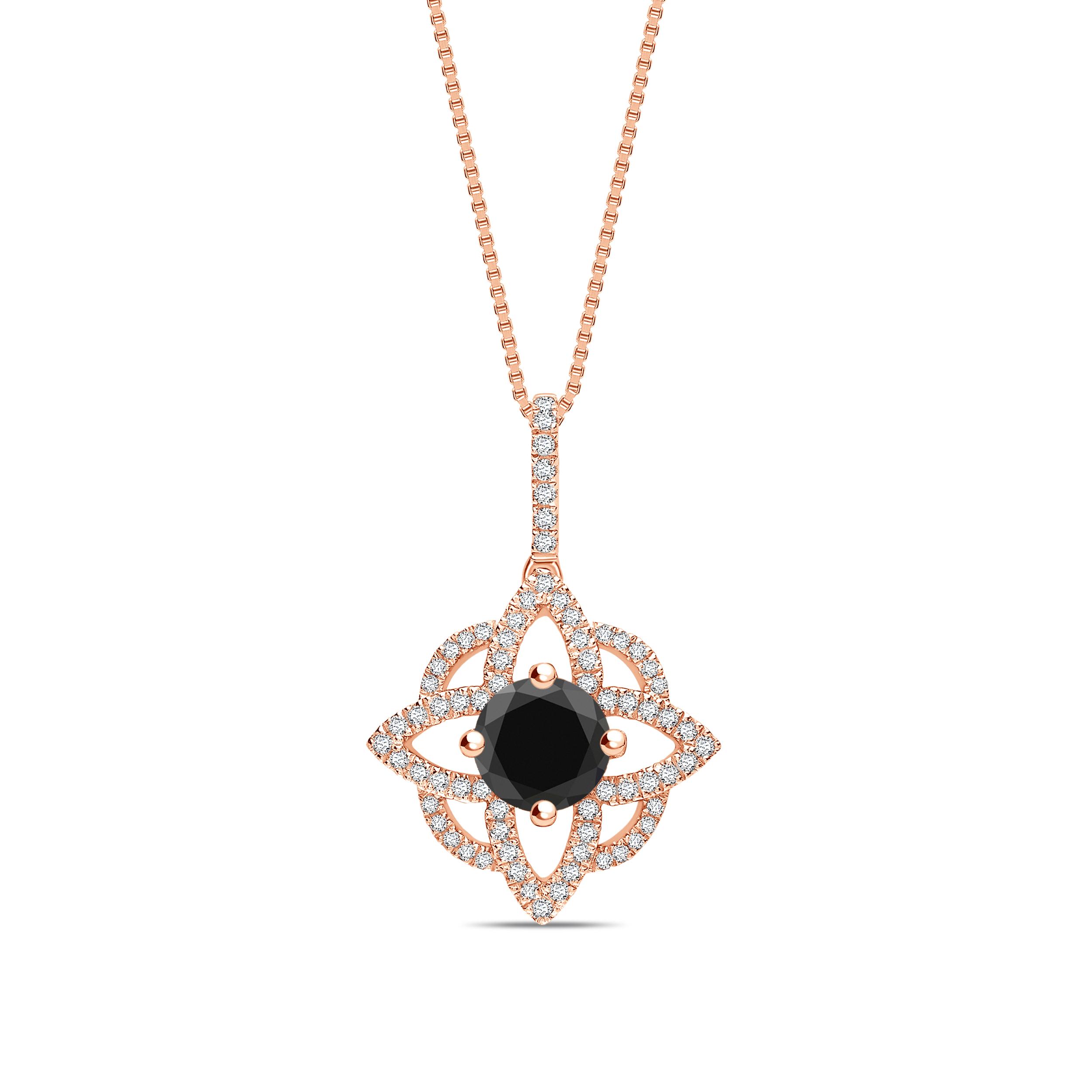Round Cut Designer Diamond Solitaire Pendants Necklace in Black Color