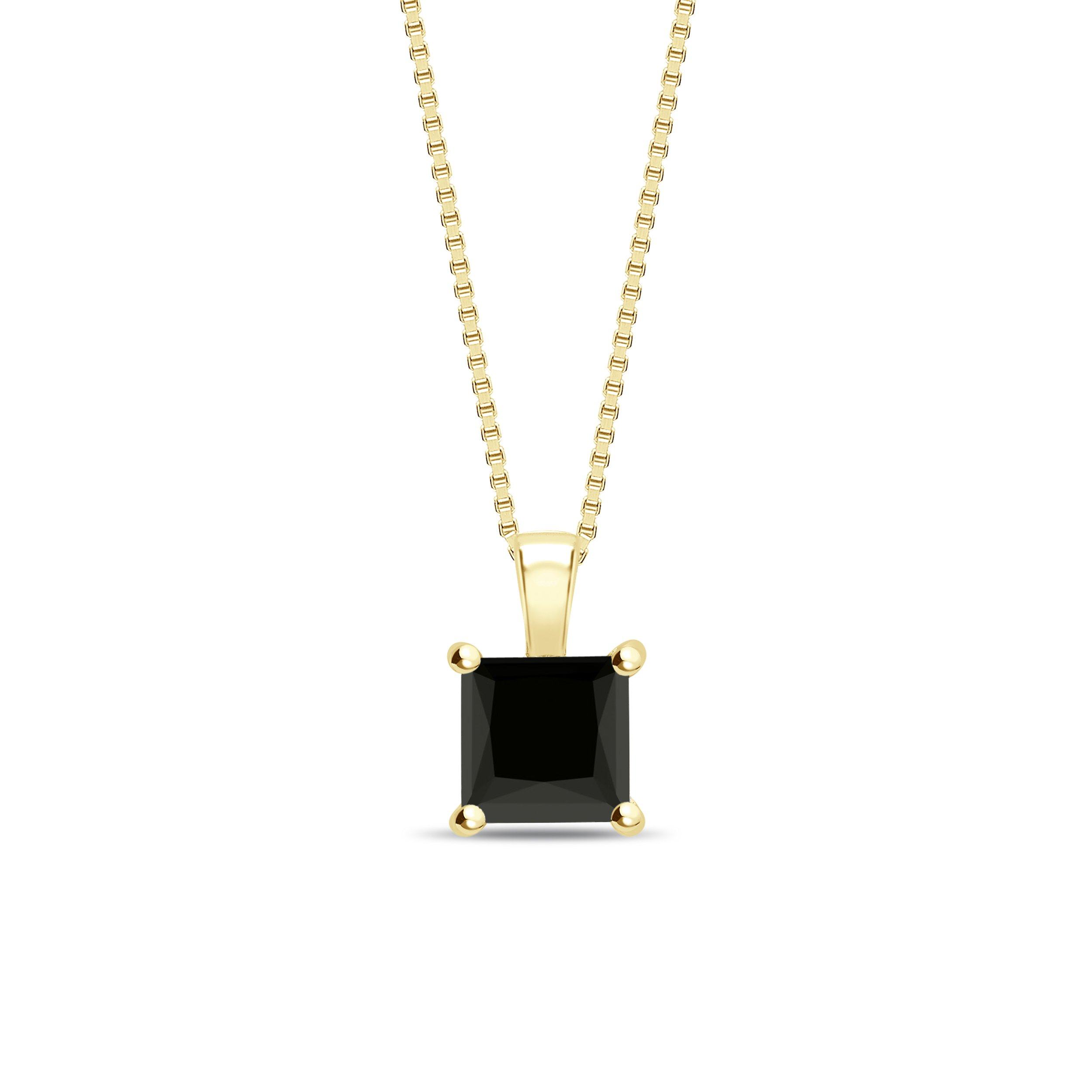 Classic Style Princess Shape Black Diamond Solitaire Pendants Necklace