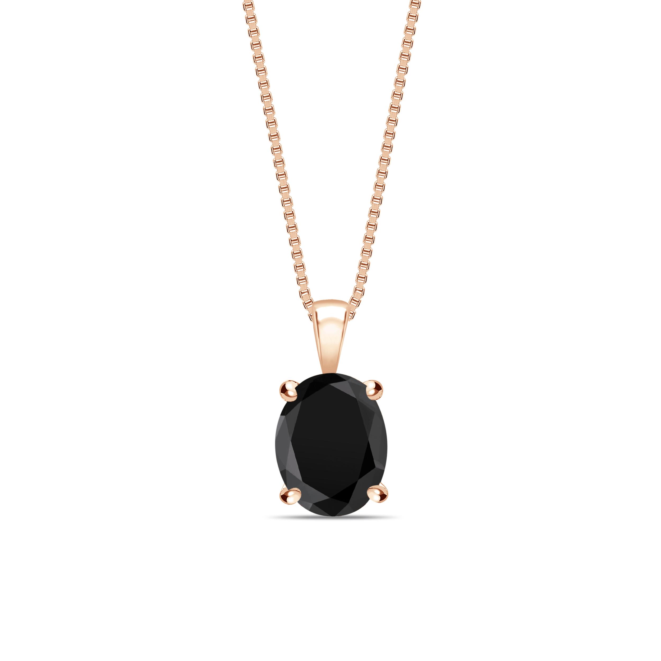 Oval Shape Popular Style Black Diamond Solitaire Pendants Necklace