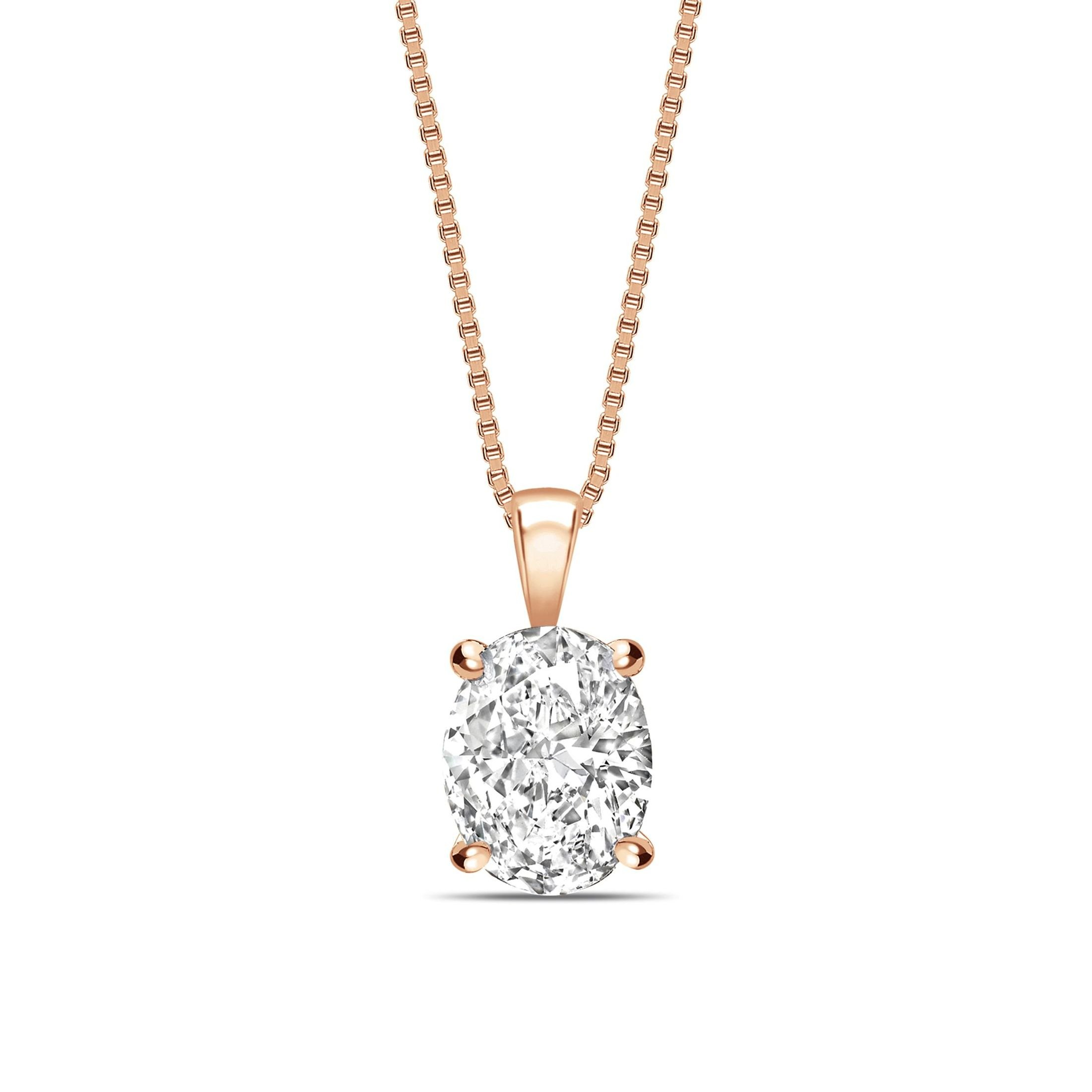 Classic Popular Style Oval Shape Solitaire Diamond Necklace