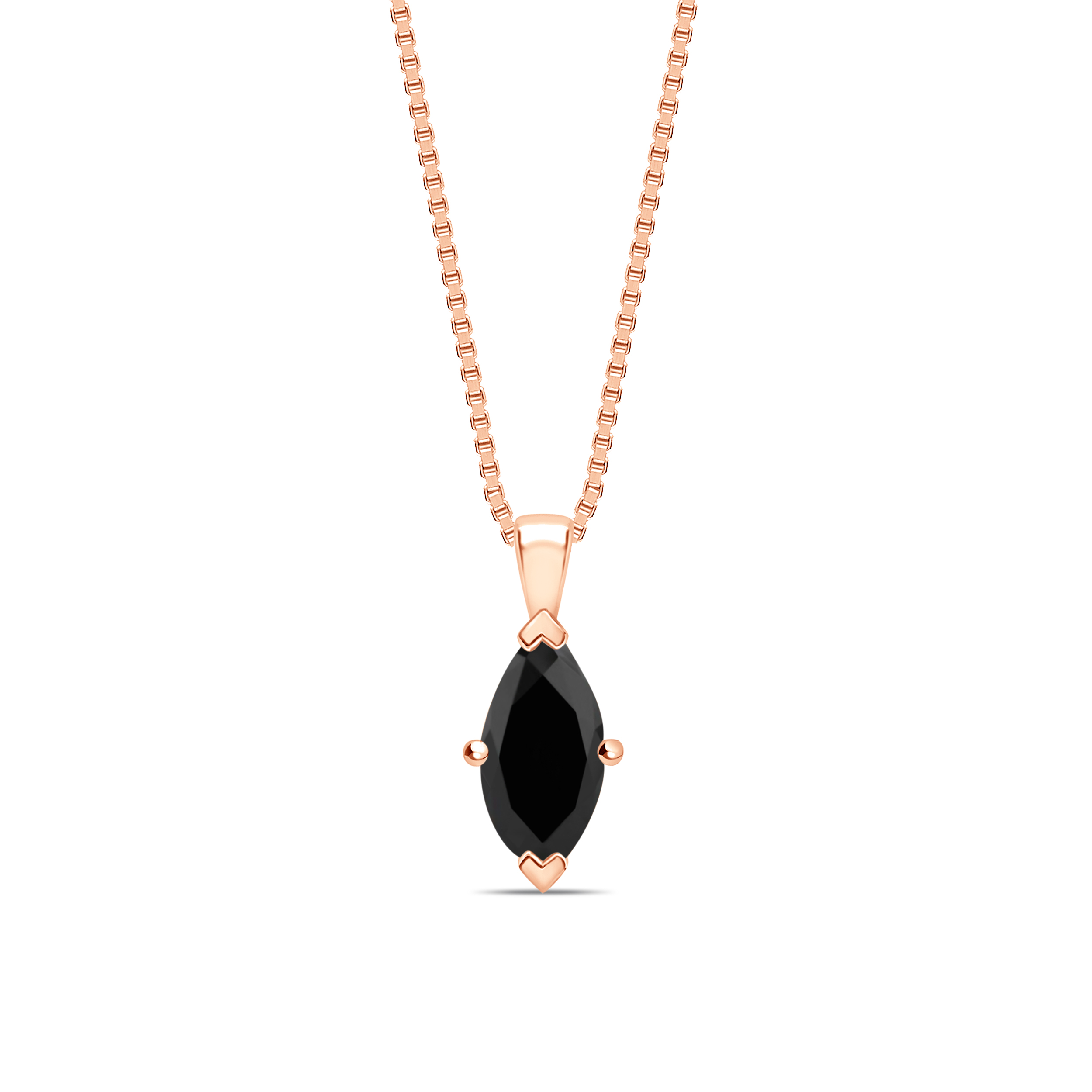 Marquise Shape Classic Style Black Diamond Solitaire Pendants Necklace