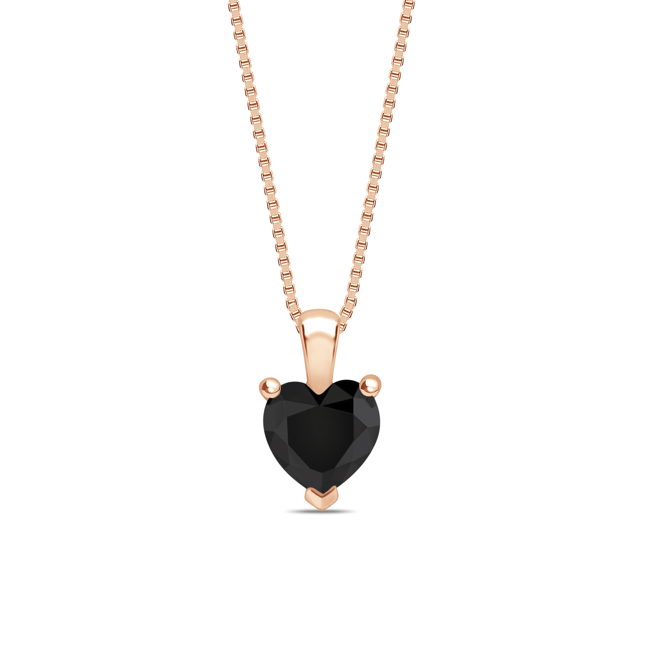 Heart Shape Popular Style Black Diamond Solitaire Pendants Necklace