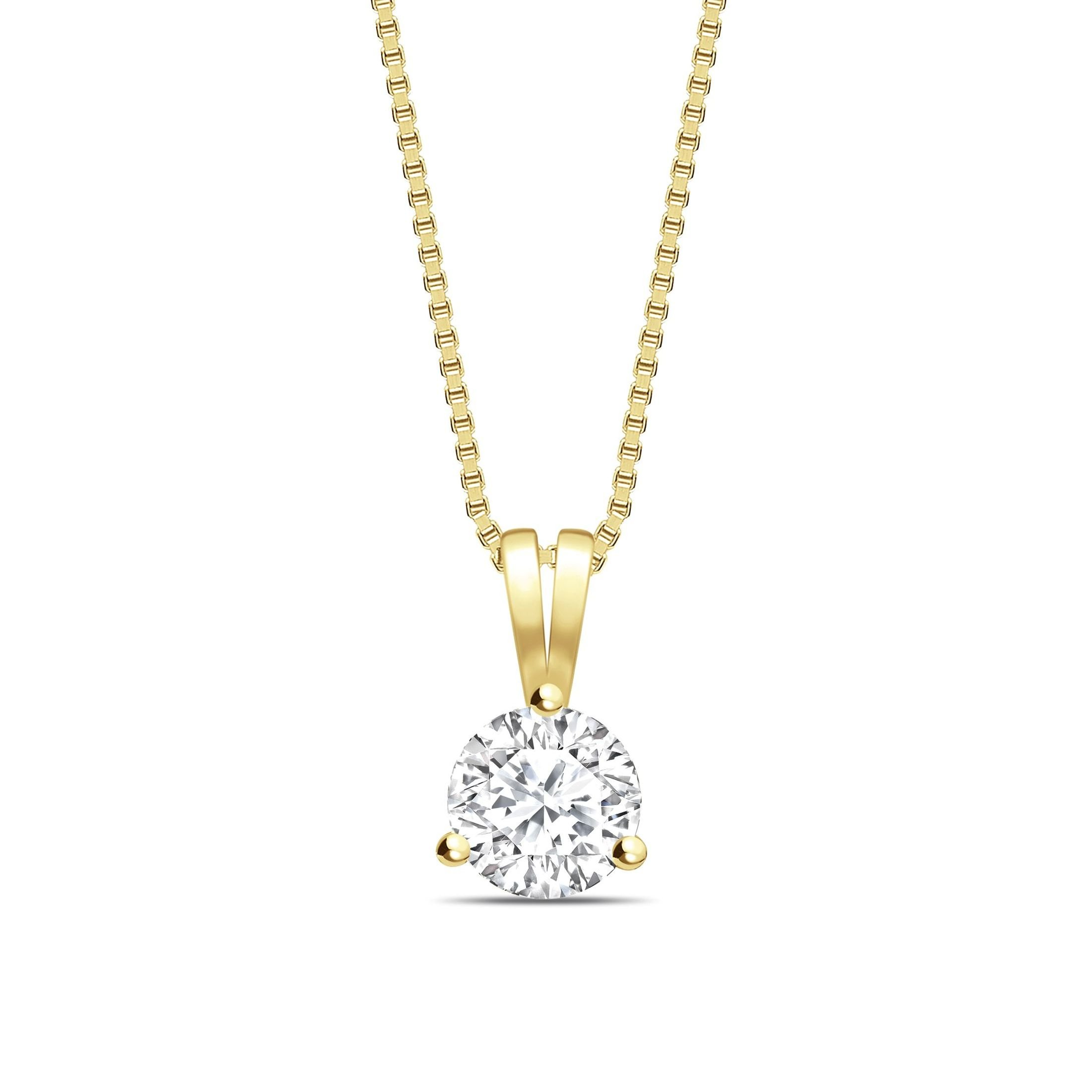 V Bale  Round Shape Solitaire Diamond Necklace