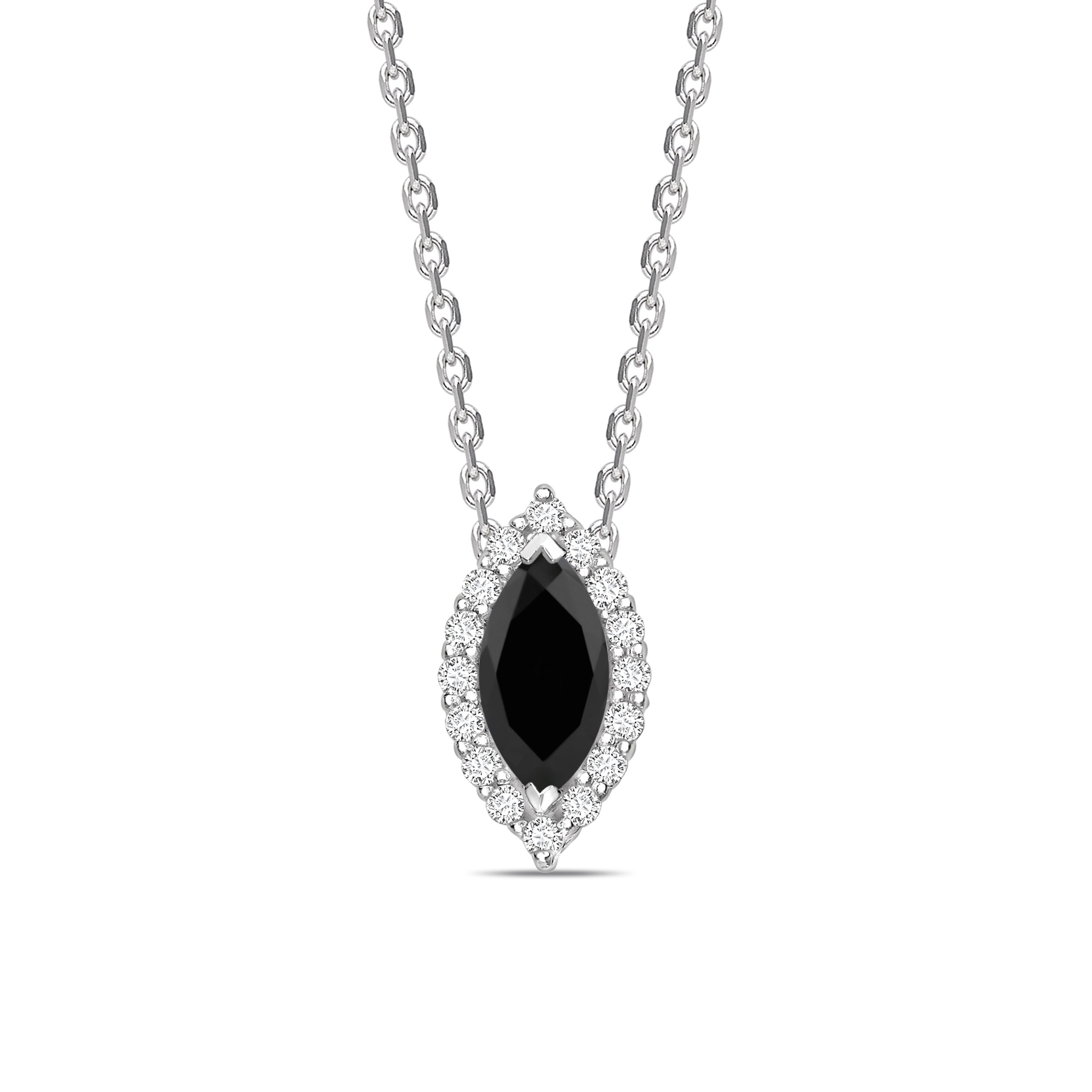 Halo Style Marquise Cut Black Diamond Solitaire Pendants Necklace