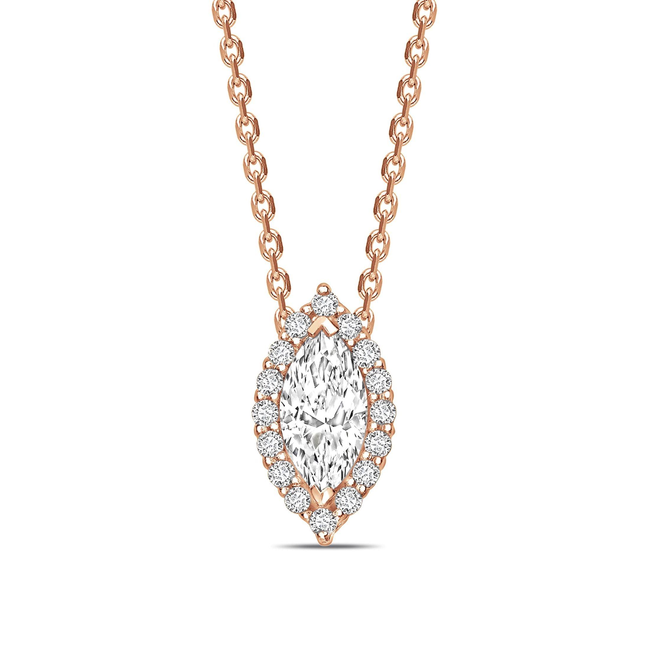 Sliding Halo Marquise Shape Halo Diamond Necklace