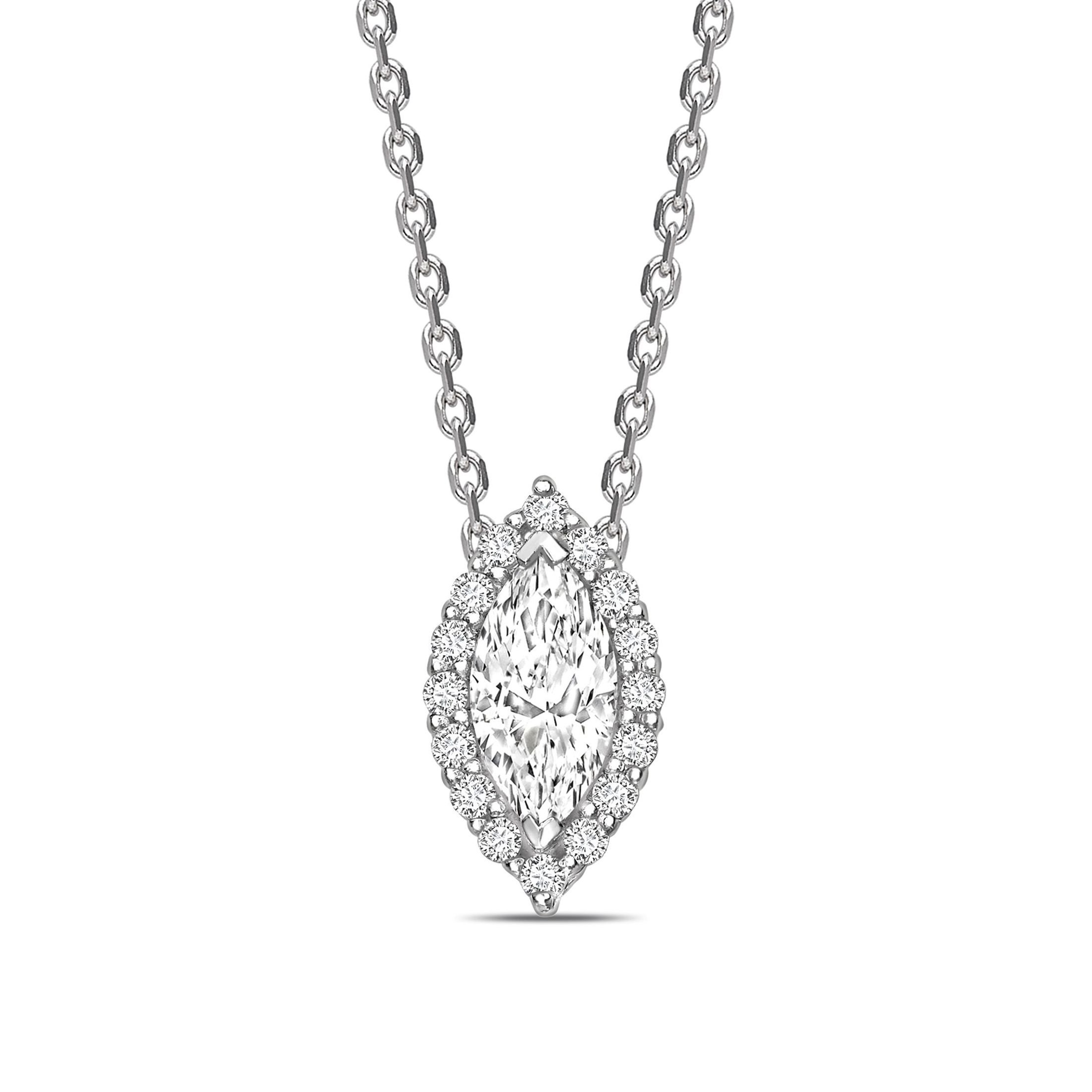Sliding Halo Marquise Shape Halo Diamond Necklace