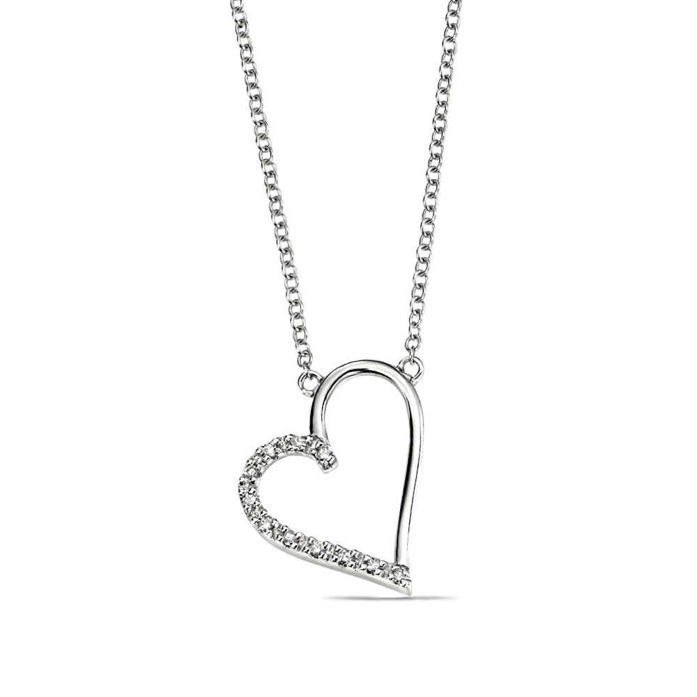 Open Heart With Pave Set Diamonds Necklace Pendant (50mm X 17mm)
