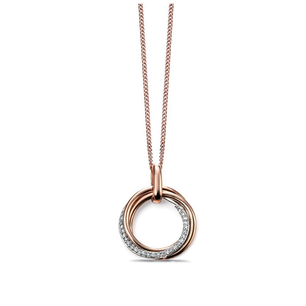Pave Set Open Circle Diamond Necklace (20mm X 16 mm)