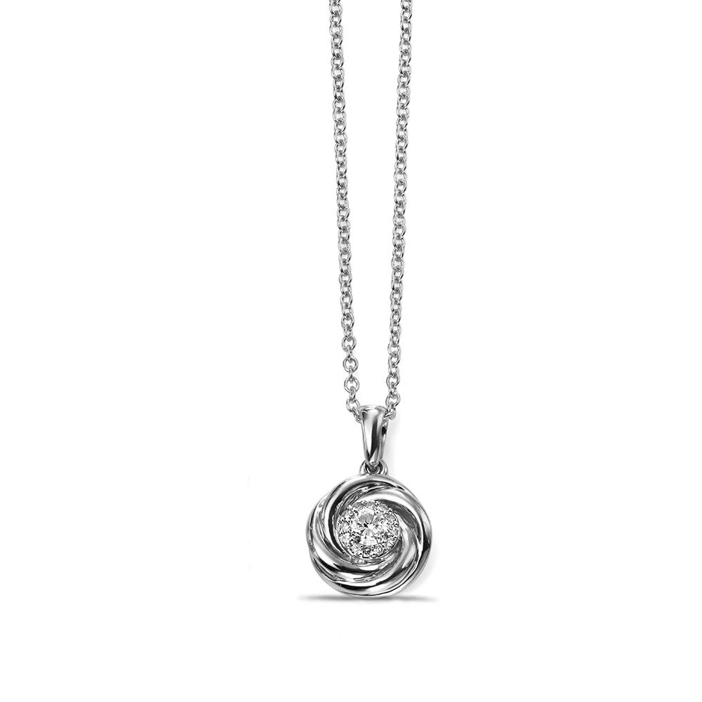 Pave Set Round Diamond Swirl Pendant Necklace (16mm  X 10mm)