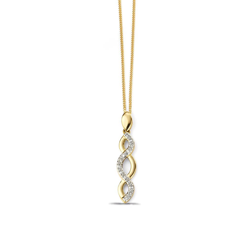 Beautiful Pave Entwined Diamond Necklace (27mm X 5.5mm)