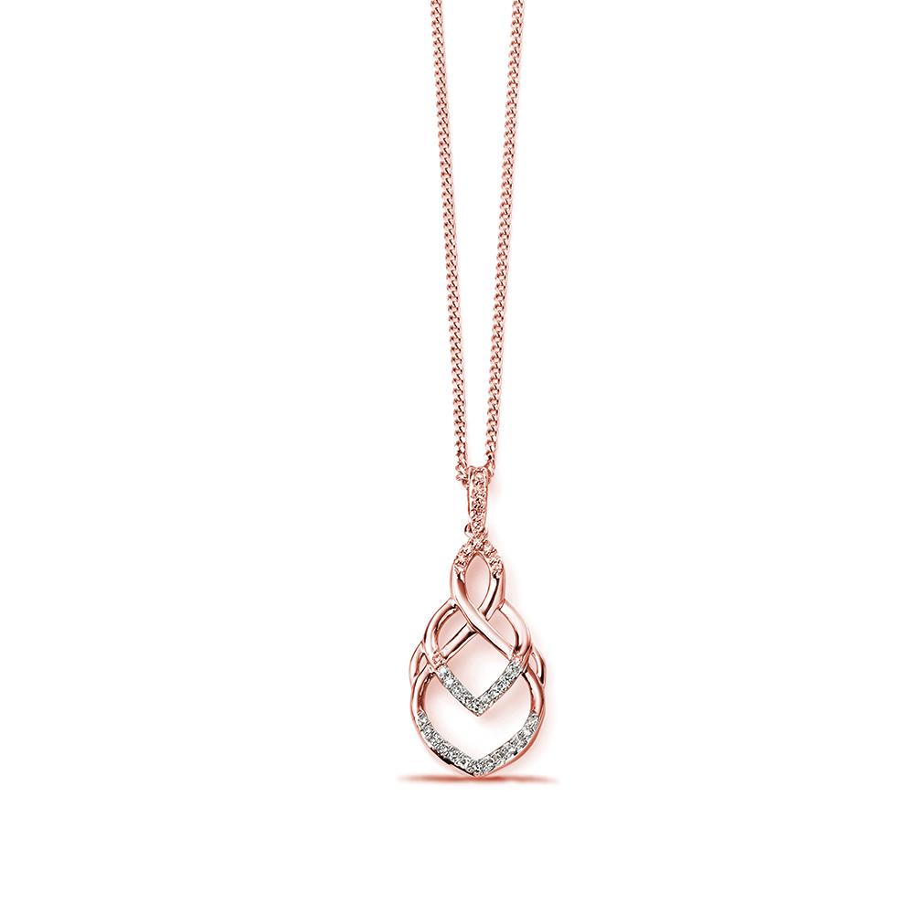 Open Pattern Pave Set Round Diamond Pendant (24 mm X 10mm)