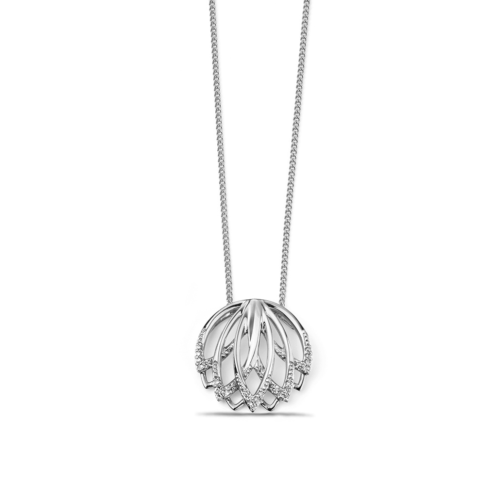 Lotus Style Designer Diamond Pendant Necklace (16mm X 16mm)