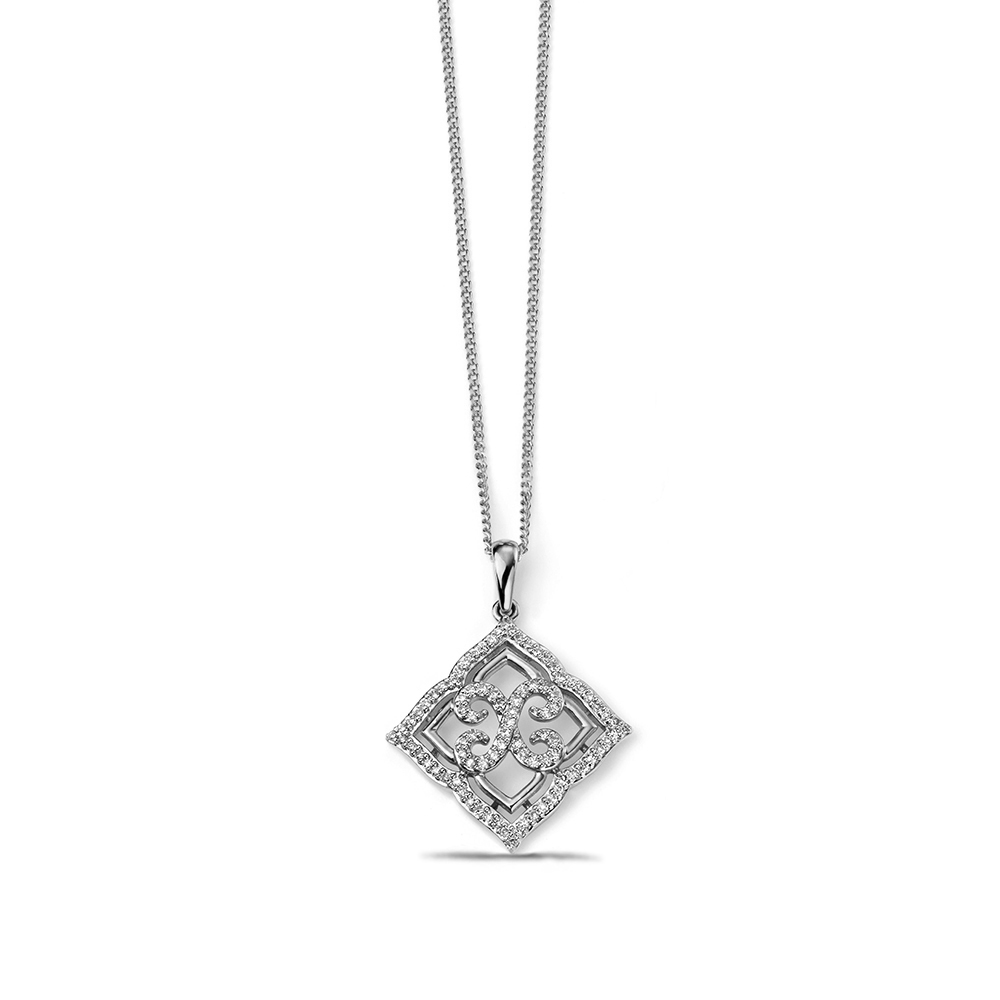 Pave Set Designer Diamond Lace Pendant (23mm X 23mm)