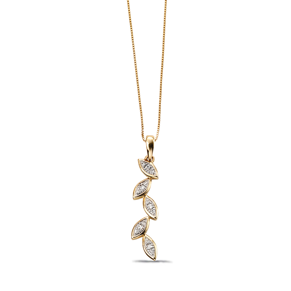 Beautiful Cascade Leaf Diamond Necklace in Gold & Platinum (30mm X 6mm)