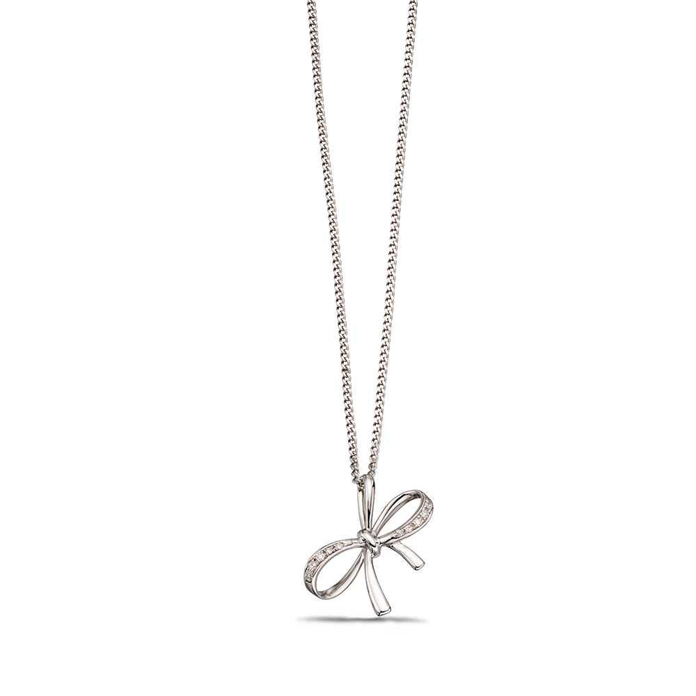 Delicate Bow Diamond Pendant in White, Yellow or Rose Gold (12mm X 16mm)