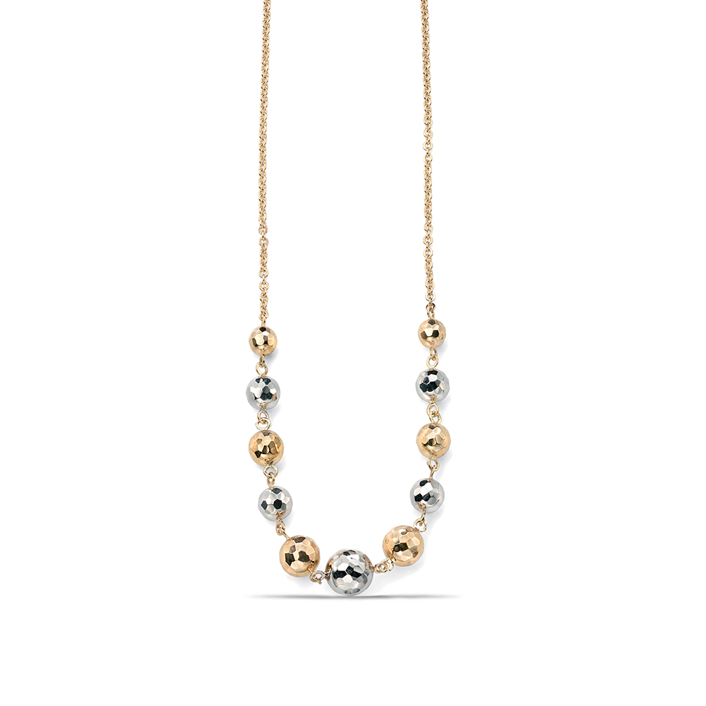 Plain Gold or Platinum textured ball necklace (Balls 5mm - 8mm)