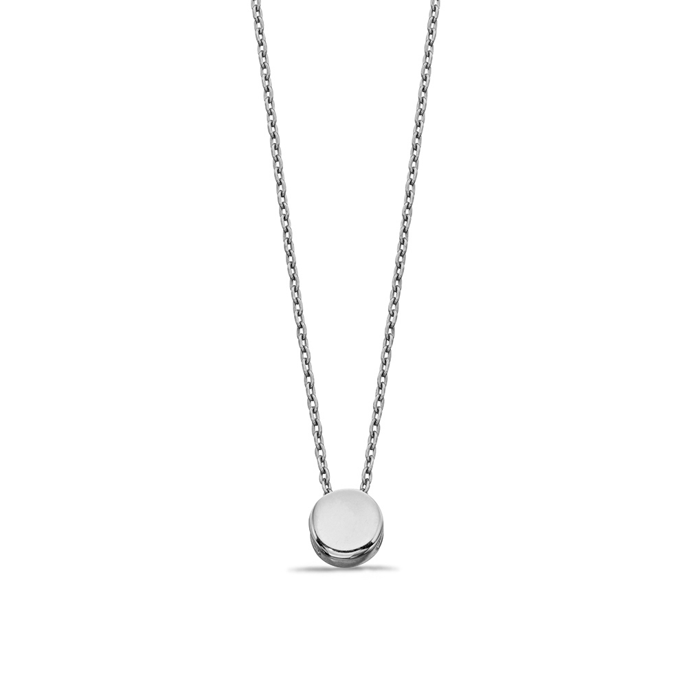 Plain Gold or Platinum Circle Disc Personalise Necklace (6mm)