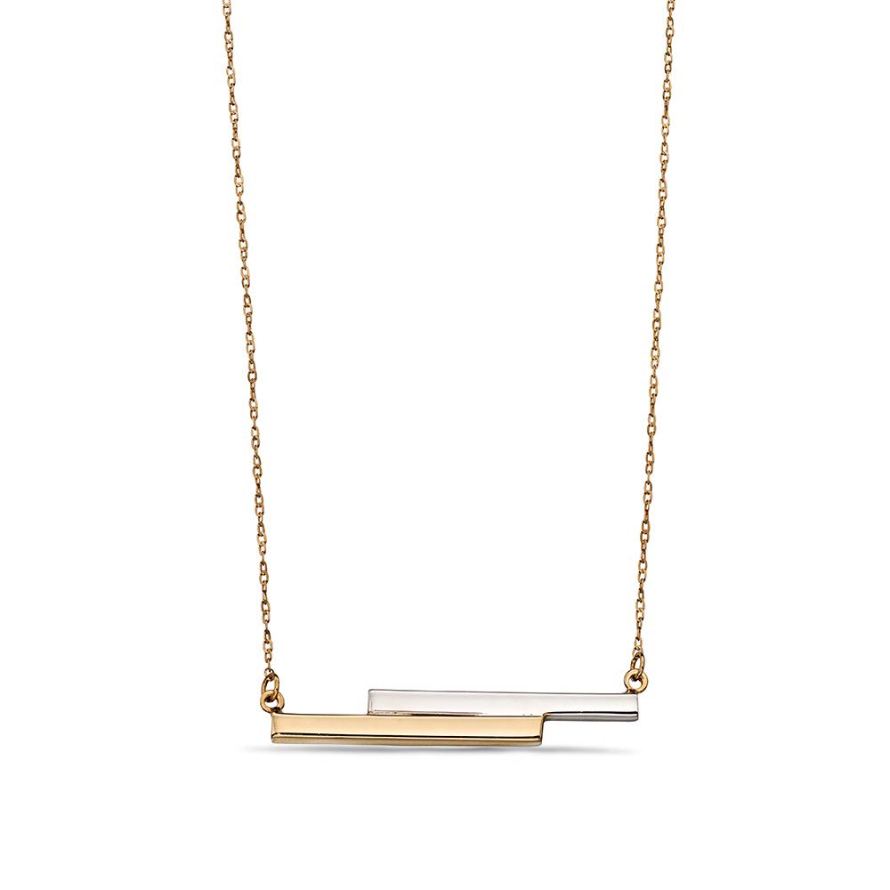 Plain Gold or Platinum Double Bar Personalise Necklace
