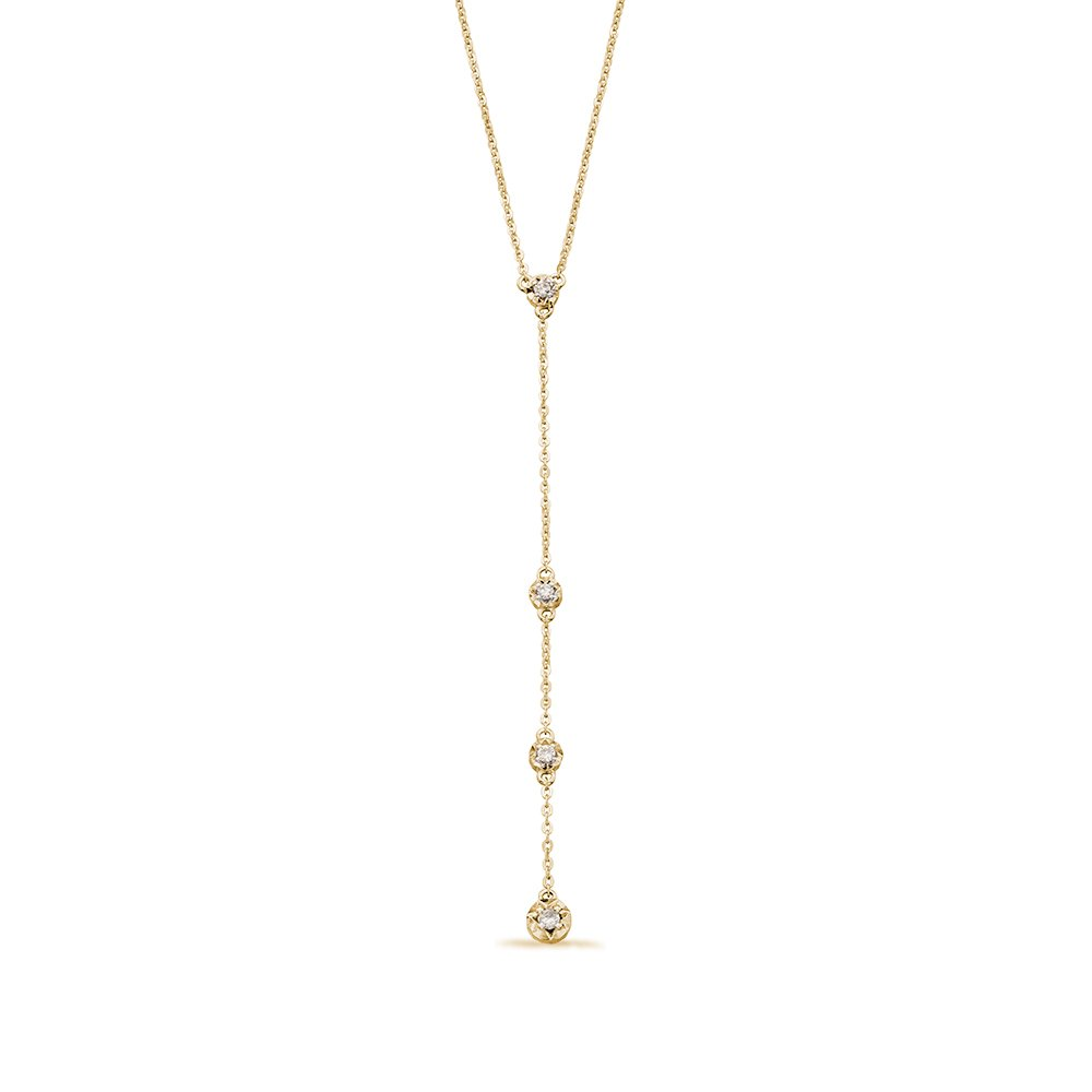 Illusion Disc Diamond Y-Drop Diamond necklace  (Hanging drop part - 65 mm )