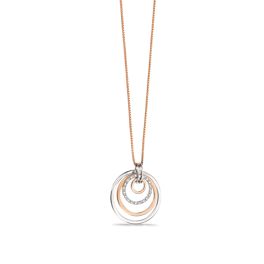 4 circle with Pave Set Diamond Drop Pendant (26mm X 23mm)