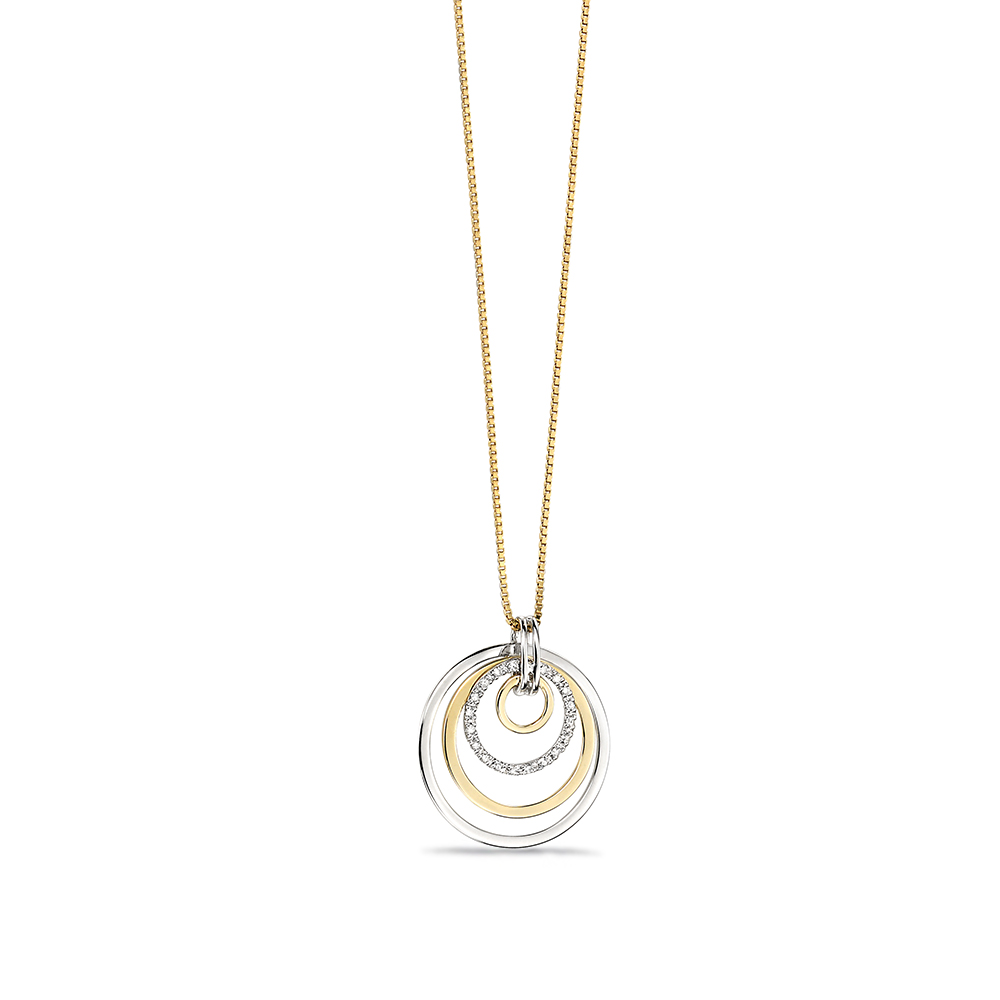 4 circle with Pave Set Diamond Drop Pendant (26mm X 23mm)