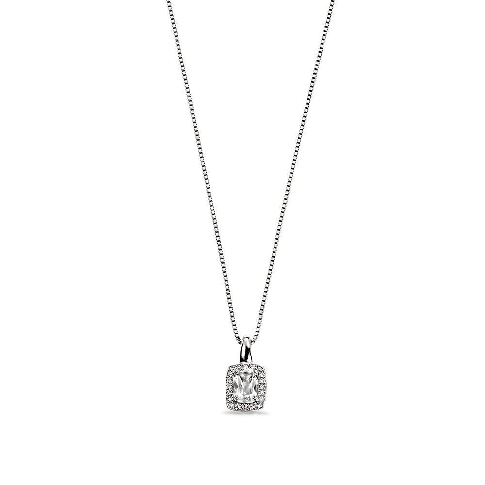 Diamond and White Topaz Halo Diamond Pendant Necklace (15mm X 7.5mm)