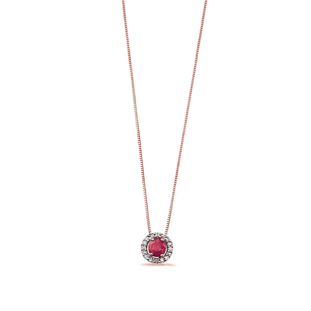 Oval Shape Ruby with Pave Set Diamond Pendant (8.5mm X 7mm)