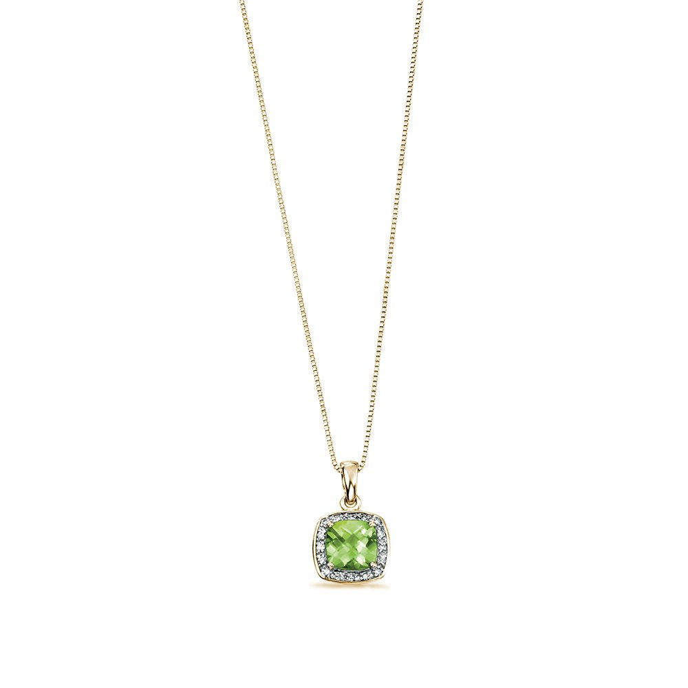 Cushion Cut Peridot with Pave Set Halo Diamond Necklaces (14.6mm X 9mm)