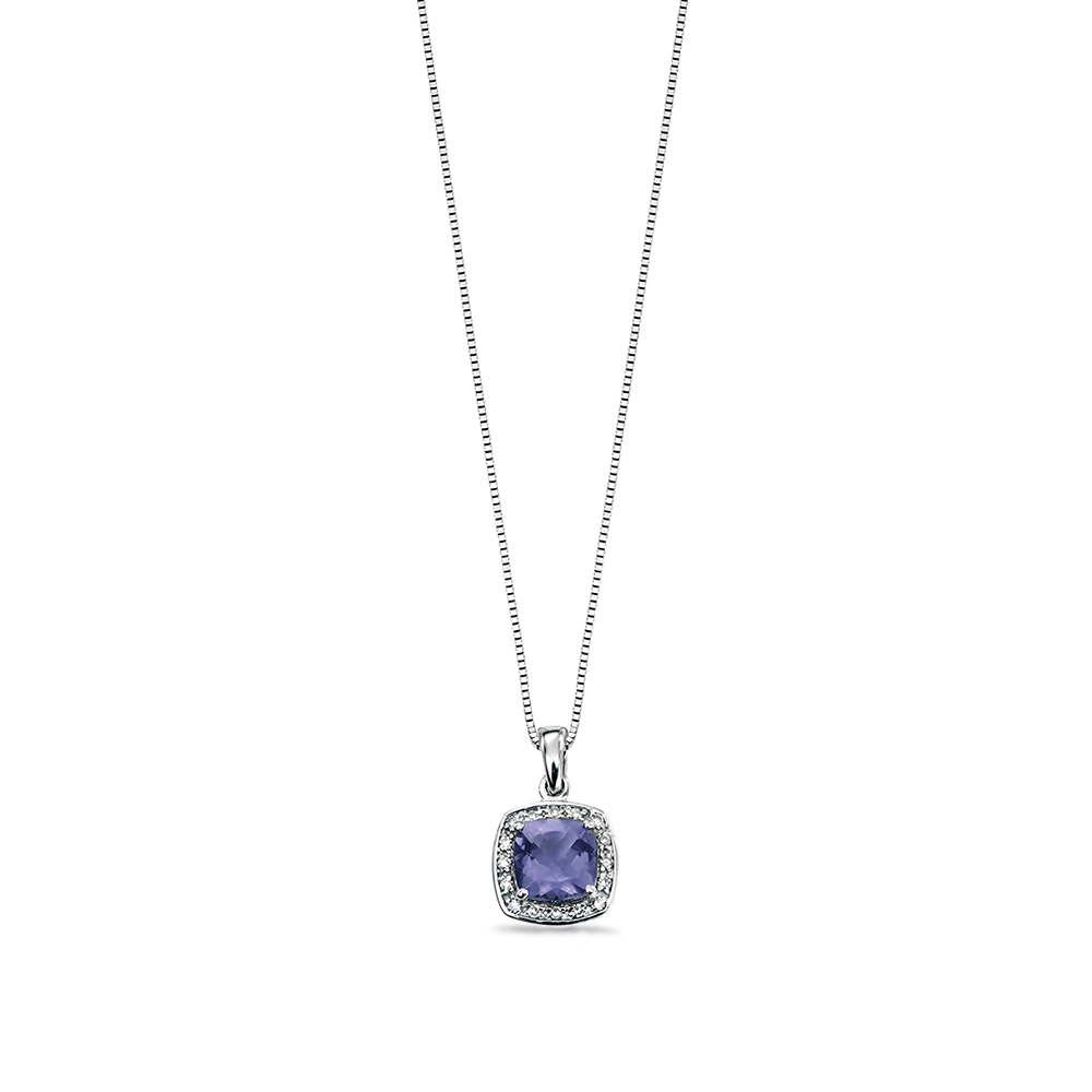 Cushion Cut  Iolite with Diamond Surrounded Halo Diamond Necklace (14.5mm X 9mm)