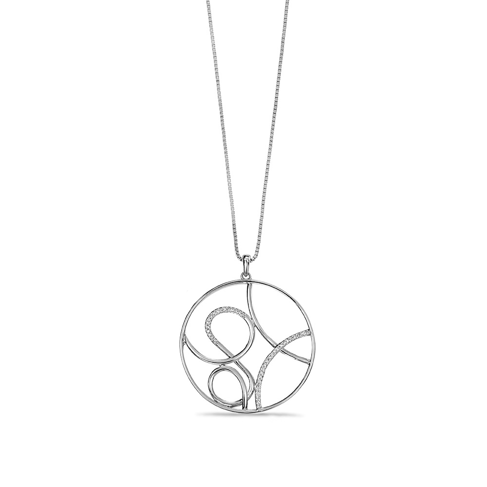 Fancy Circle Swirl with Diamond Detailing Necklace Pendant (37mm X 31.5mm)